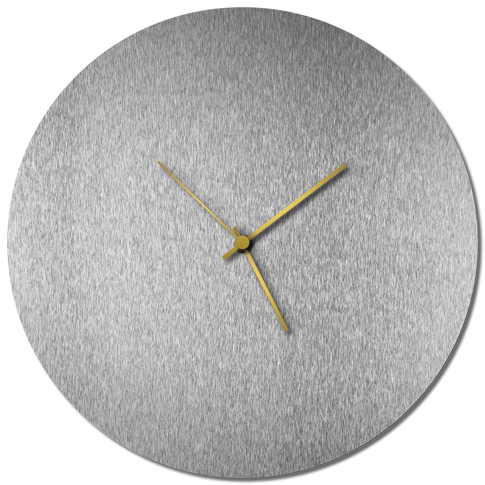 Adam Schwoeppe 'Silversmith Circle Clock Gold' Midcentury Modern Style Wall Clock