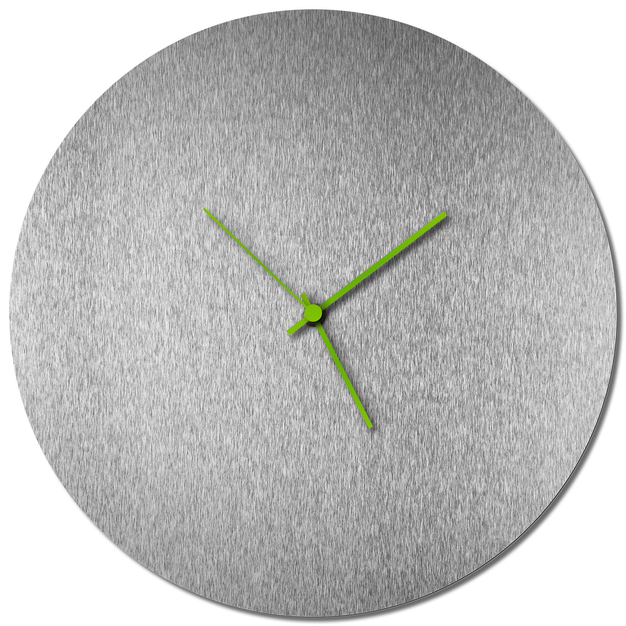 Adam Schwoeppe 'Silversmith Circle Clock Green' Midcentury Modern Style Wall Clock