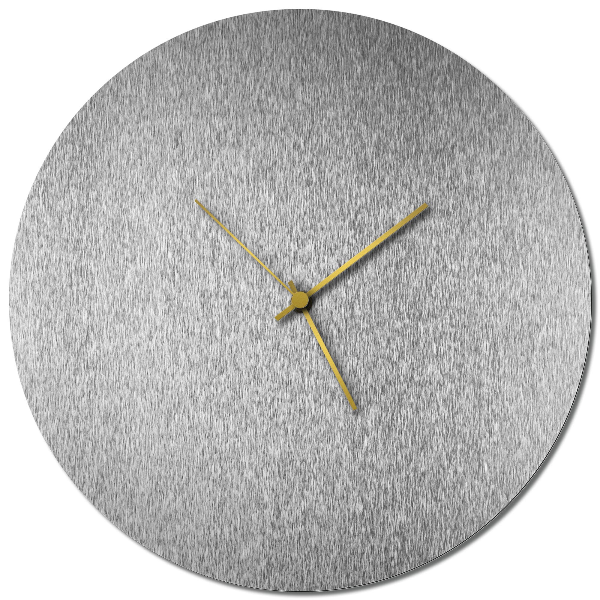 Adam Schwoeppe 'Silversmith Circle Clock Large Gold' Midcentury Modern Style Wall Clock