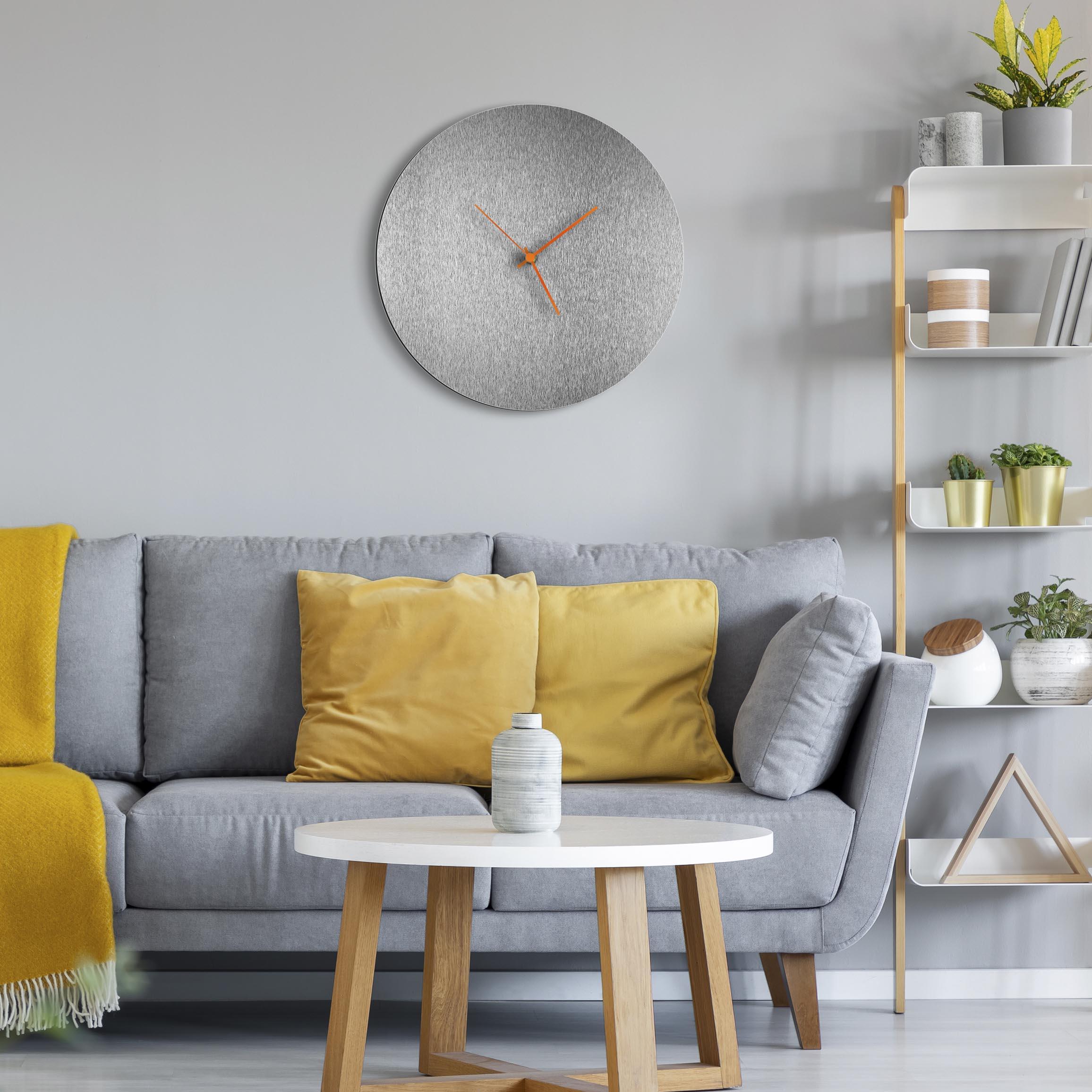 Silversmith Circle Clock Large Orange - Lifestyle View