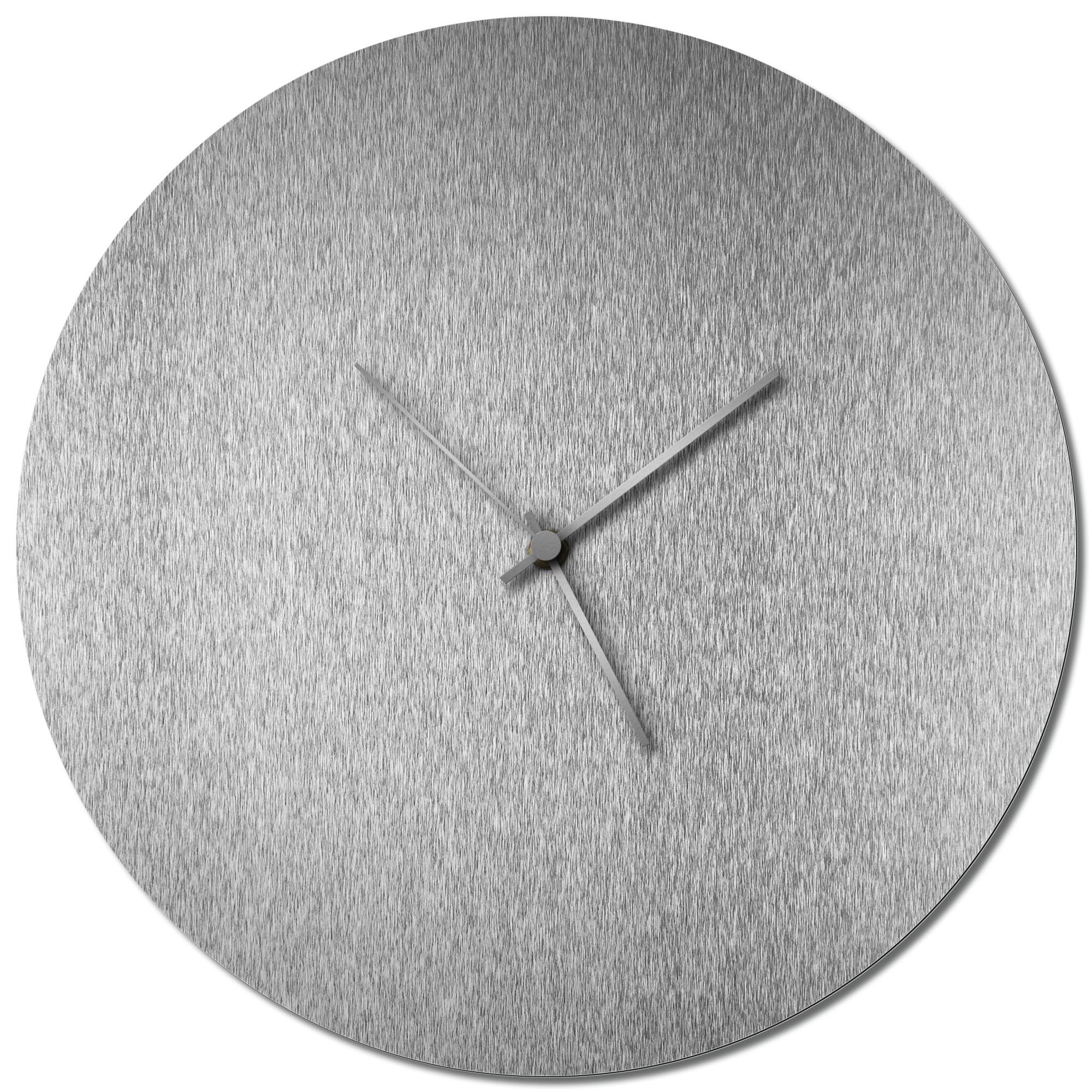 Adam Schwoeppe 'Silversmith Circle Clock Large Silver' Midcentury Modern Style Wall Clock