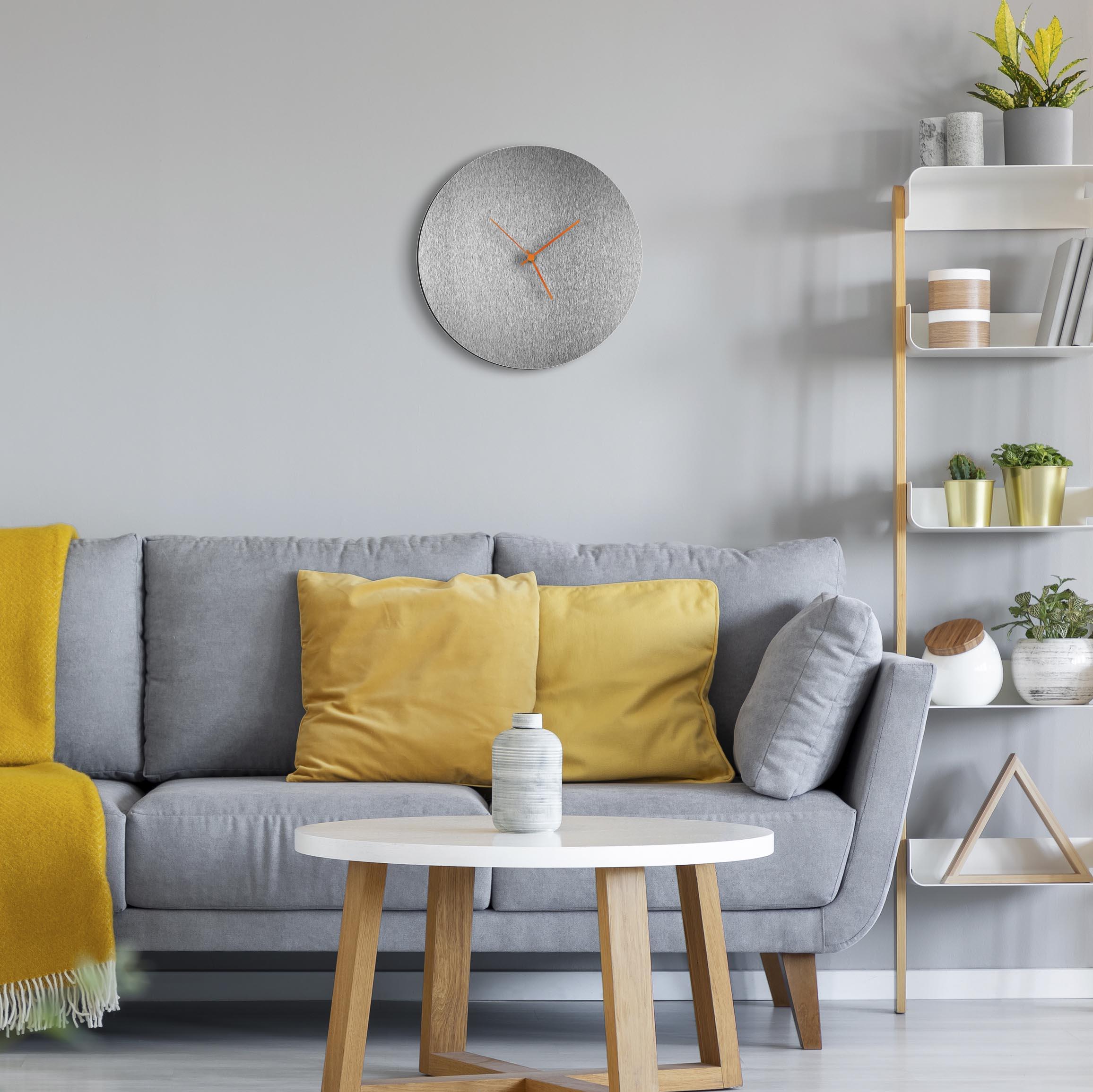 Silversmith Circle Clock Orange - Lifestyle View
