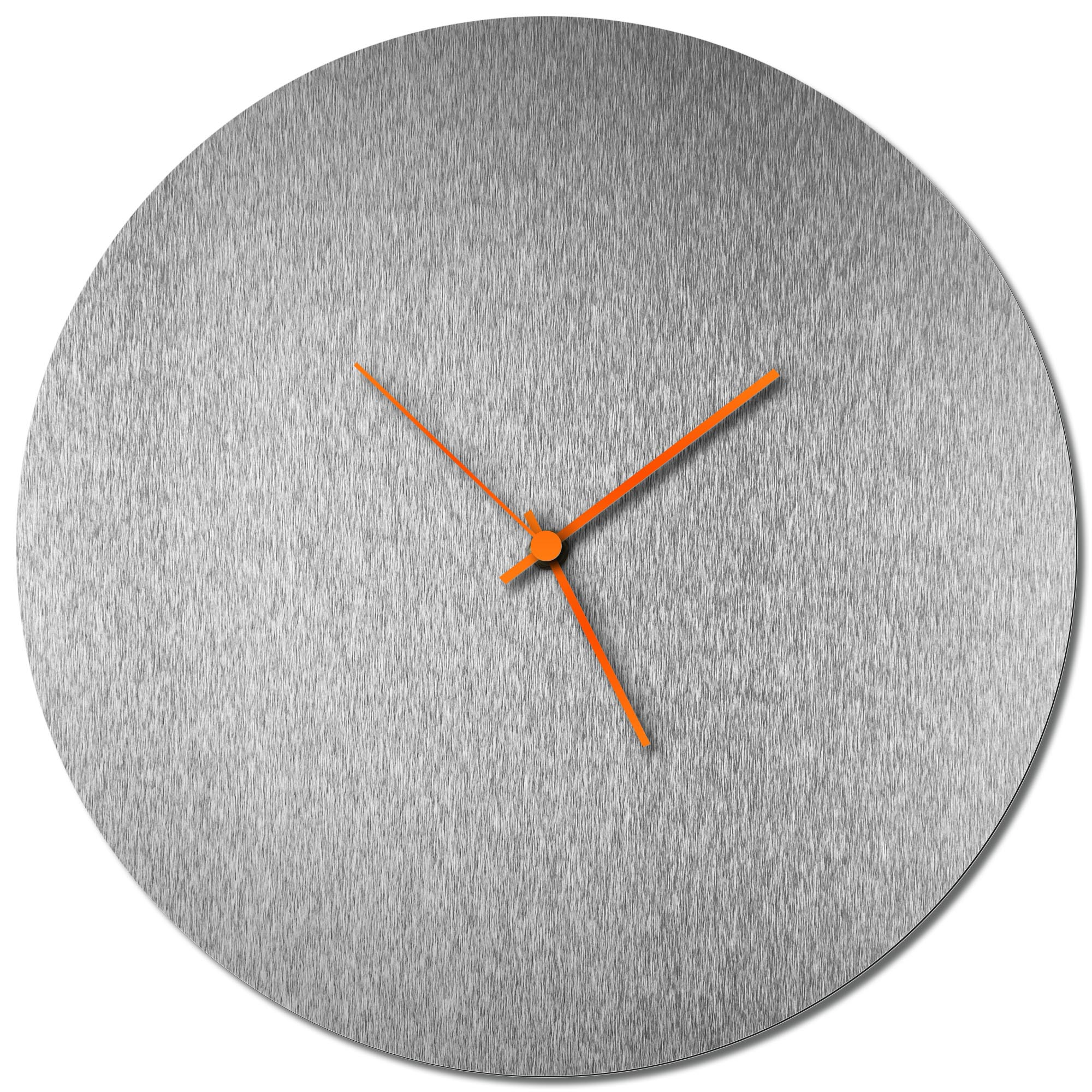 Adam Schwoeppe 'Silversmith Circle Clock Orange' Midcentury Modern Style Wall Clock