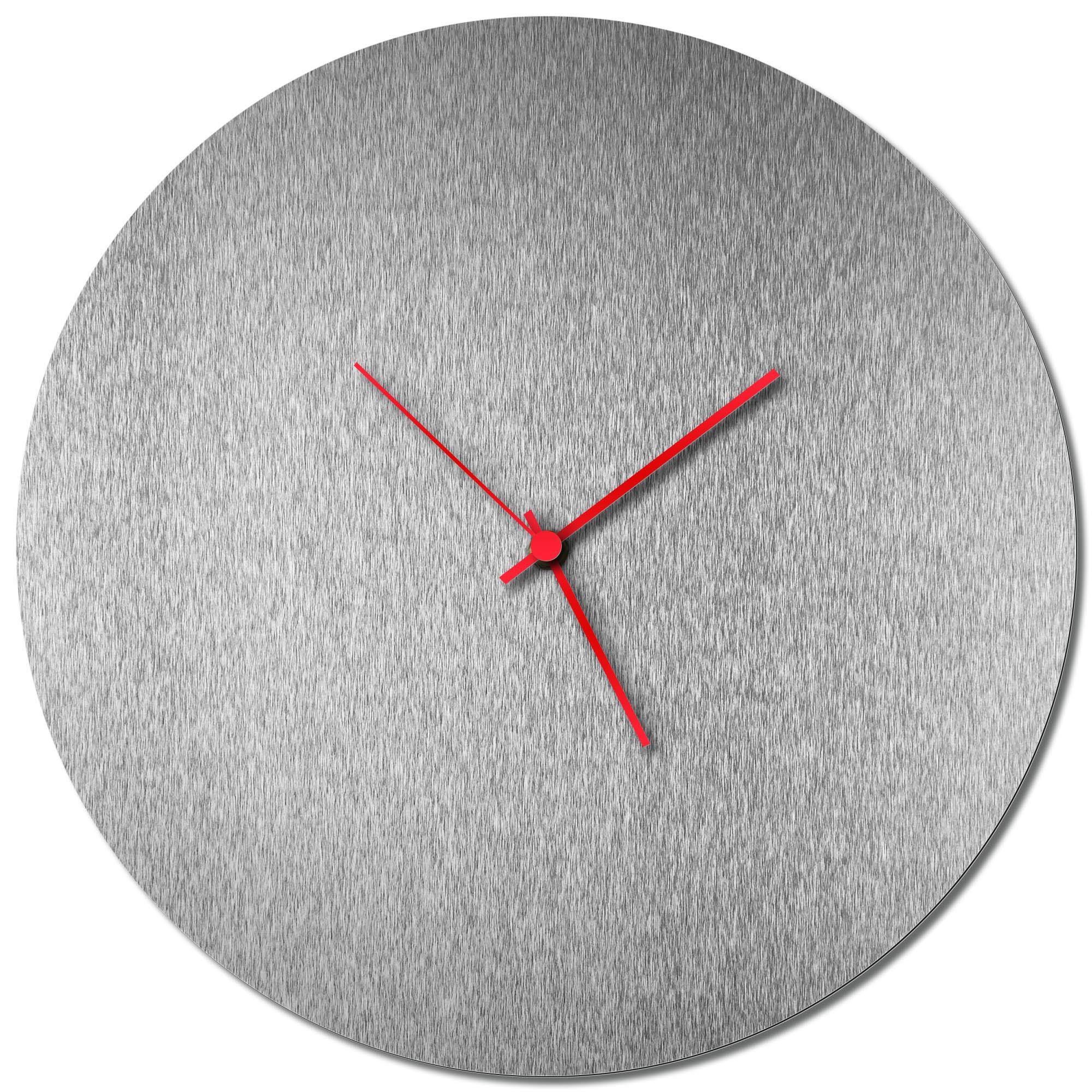 Adam Schwoeppe 'Silversmith Circle Clock Red' Midcentury Modern Style Wall Clock