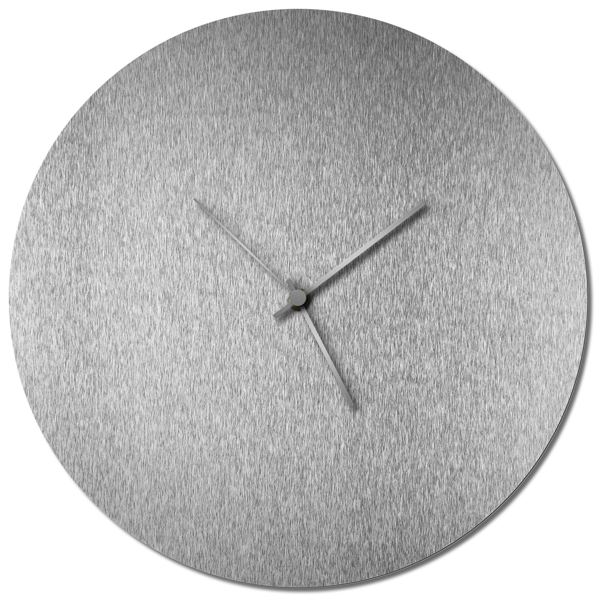 Adam Schwoeppe 'Silversmith Circle Clock Silver' Midcentury Modern Style Wall Clock