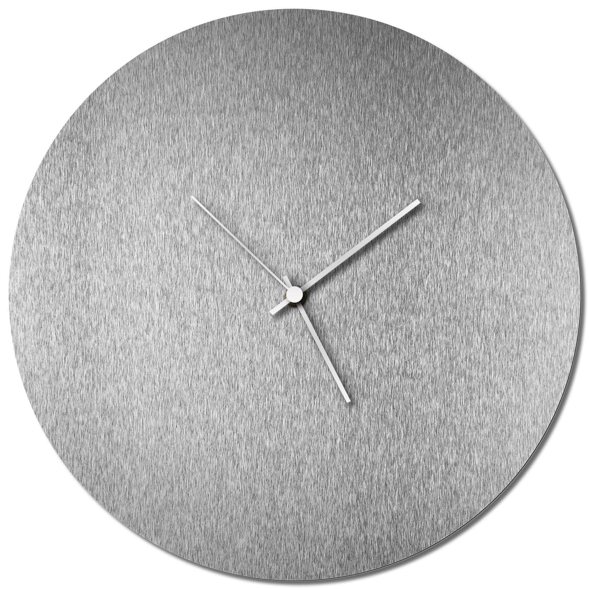 Adam Schwoeppe 'Silversmith Circle Clock White' Midcentury Modern Style Wall Clock