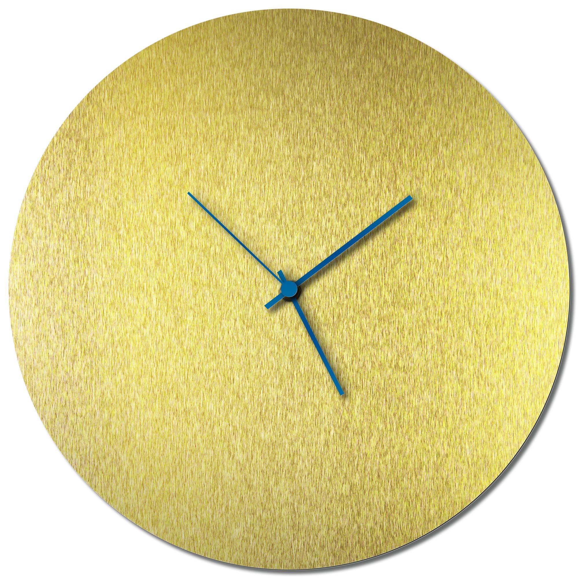 Adam Schwoeppe 'Goldsmith Circle Clock Large Blue' Midcentury Modern Style Wall Clock