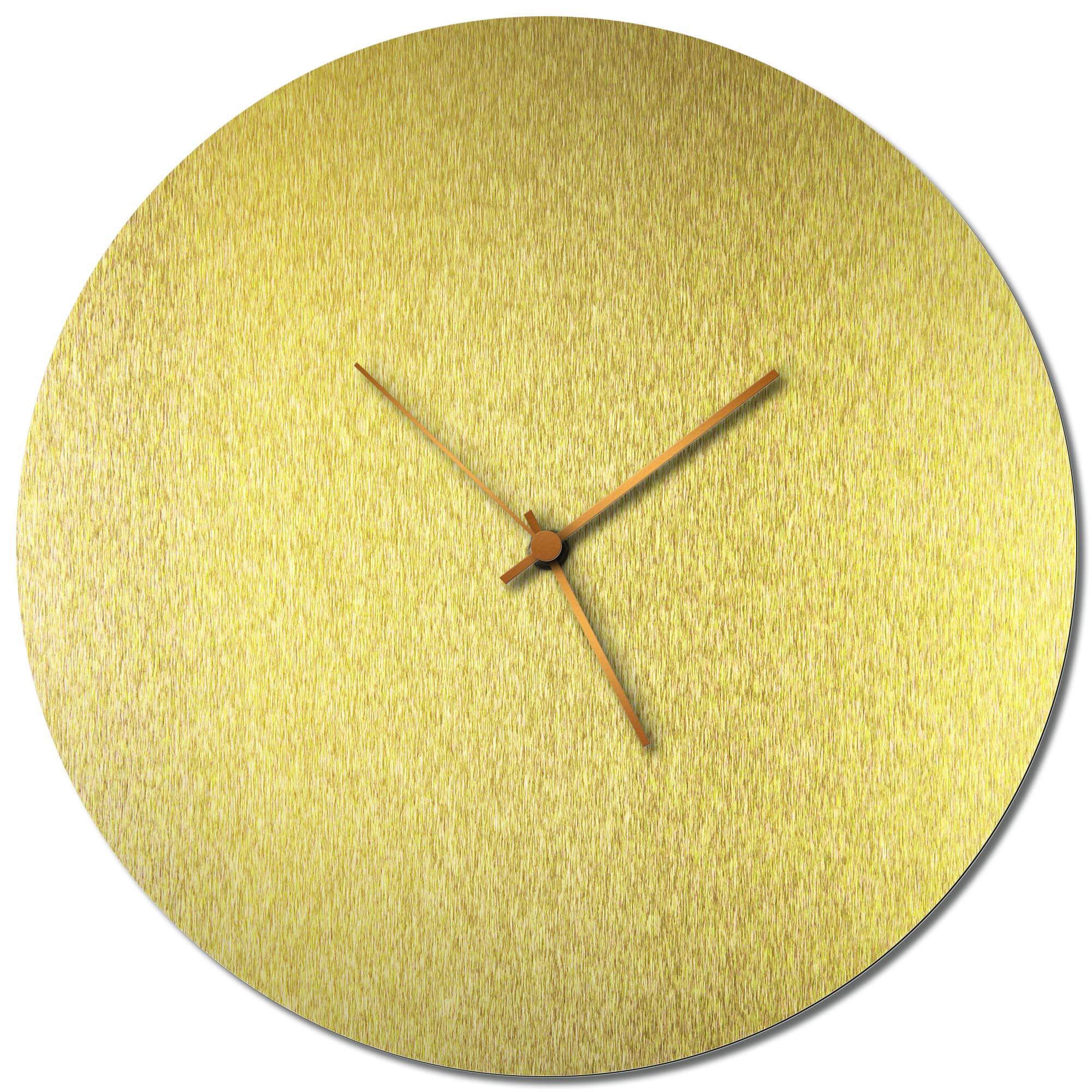 Adam Schwoeppe 'Goldsmith Circle Clock Large Bronze' Midcentury Modern Style Wall Clock