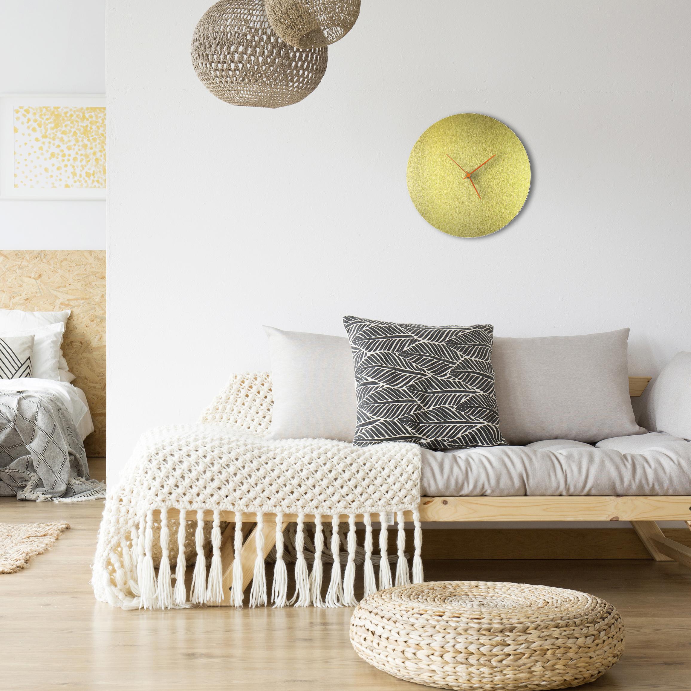 Goldsmith Circle Clock Orange - Lifestyle View