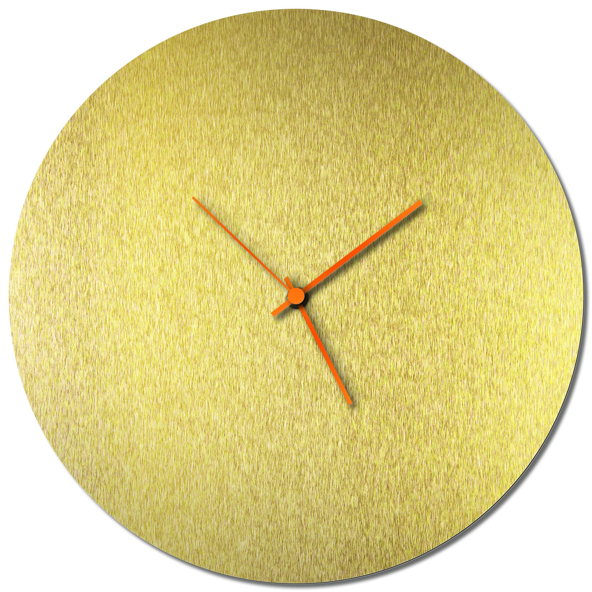 Adam Schwoeppe 'Goldsmith Circle Clock Orange' Midcentury Modern Style Wall Clock