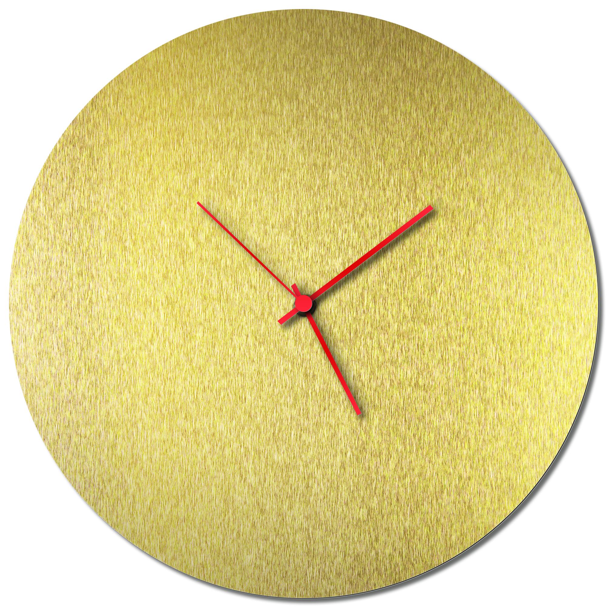 Adam Schwoeppe 'Goldsmith Circle Clock Red' Midcentury Modern Style Wall Clock