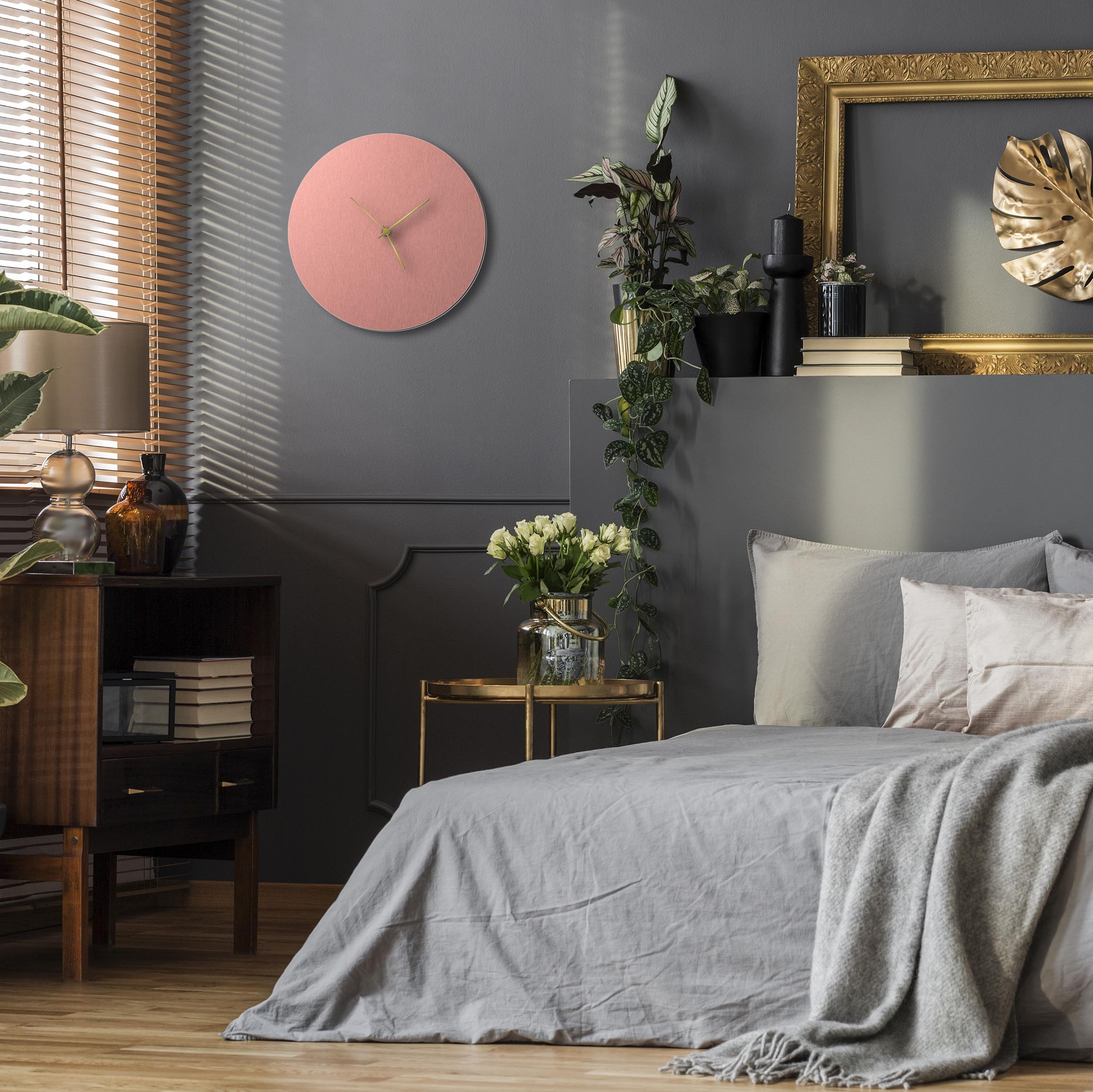 Coppersmith Circle Clock Gold - Lifestyle View