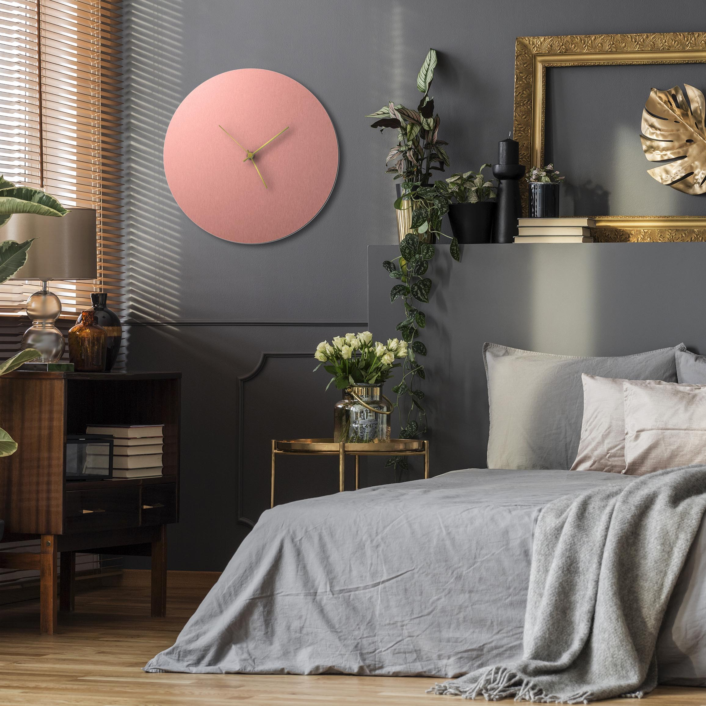 Coppersmith Circle Clock Large Gold - Lifestyle View