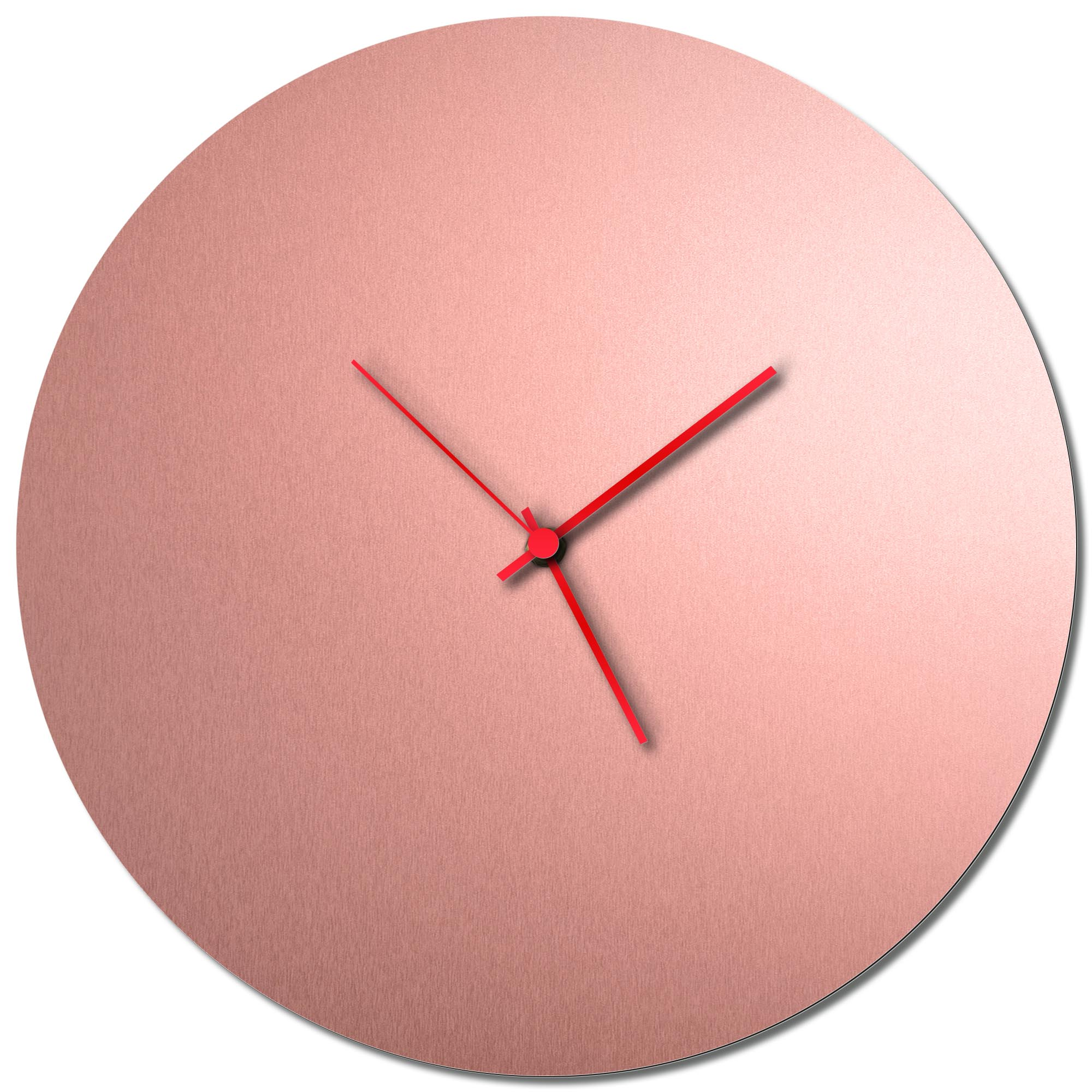 Adam Schwoeppe 'Coppersmith Circle Clock Large Red' Midcentury Modern Style Wall Clock