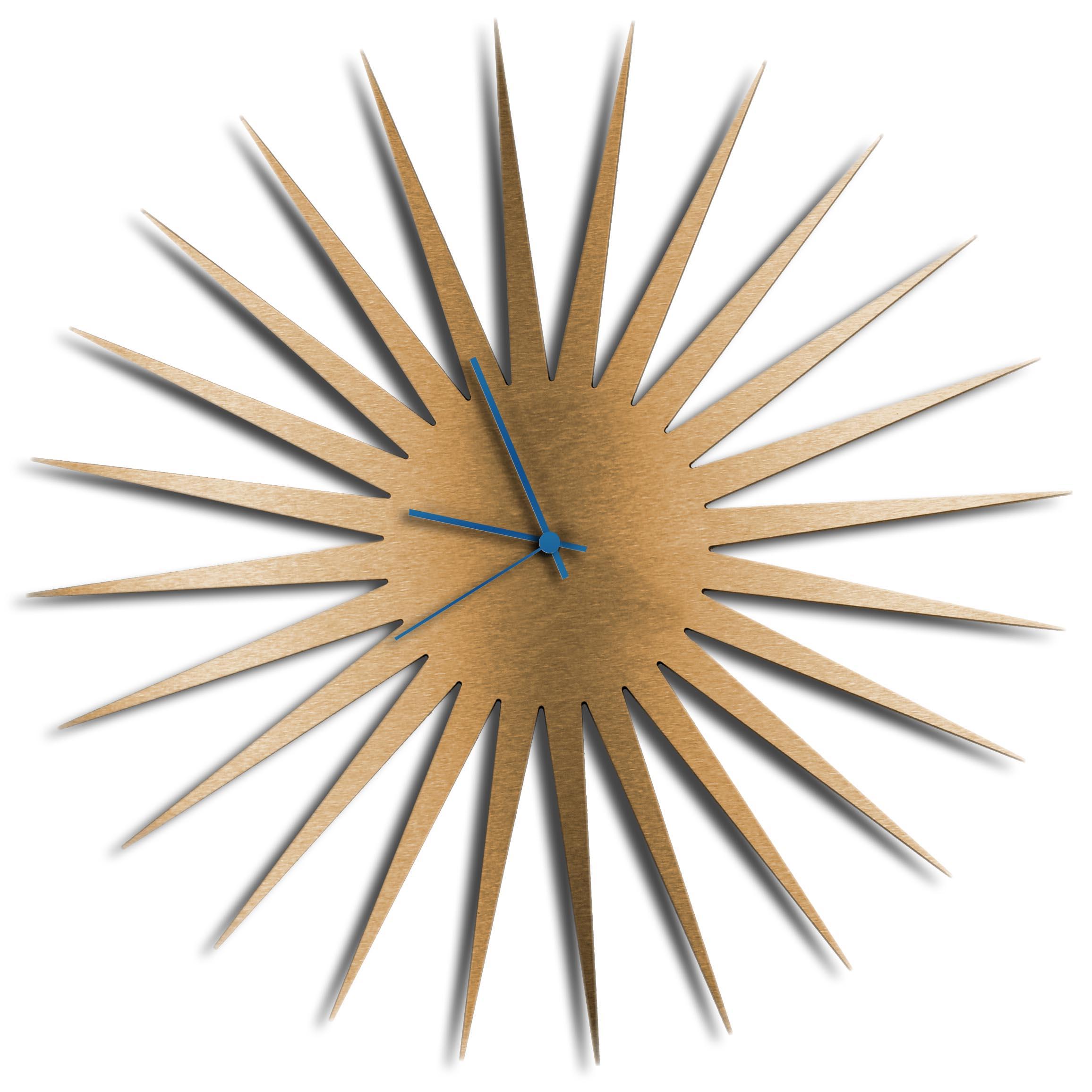 Adam Schwoeppe 'MCM Starburst Clock Bronze Blue' Midcentury Modern Style Wall Clock