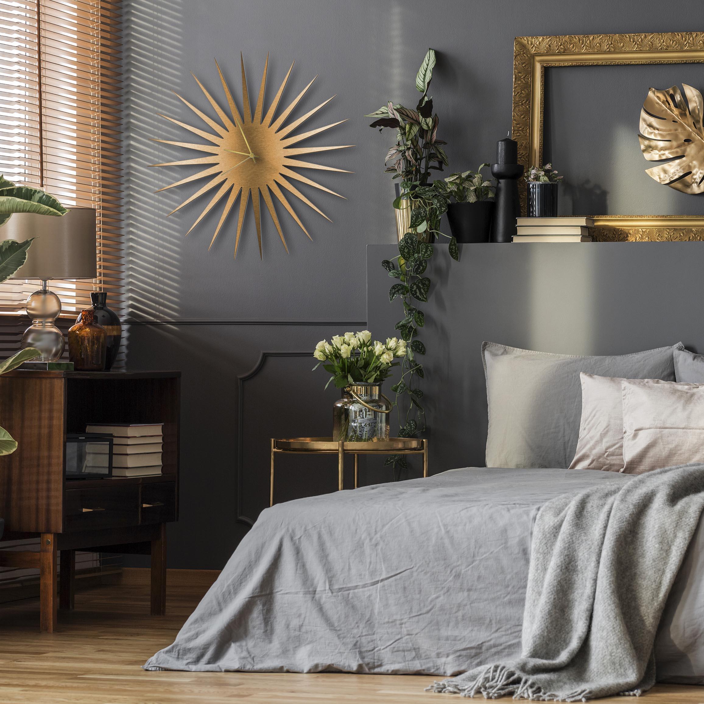 MCM Starburst Clock Bronze Gold - Lifestyle View