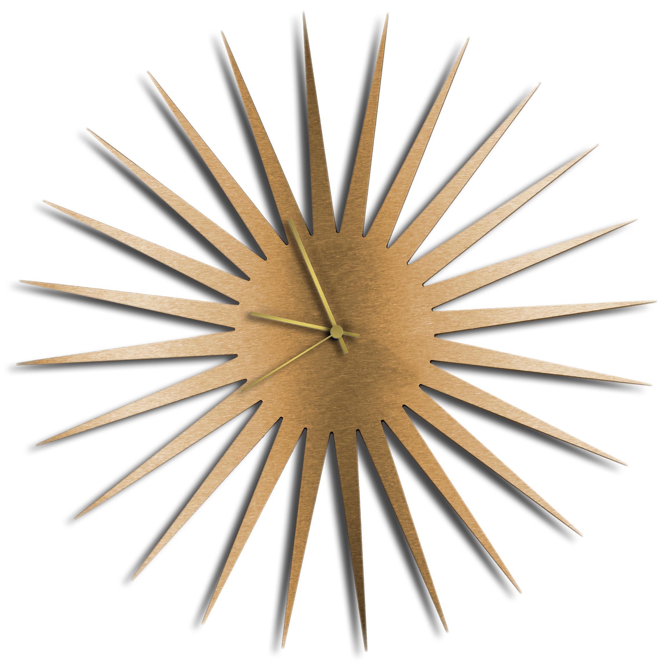 Adam Schwoeppe 'MCM Starburst Clock Bronze Gold' Midcentury Modern Style Wall Clock