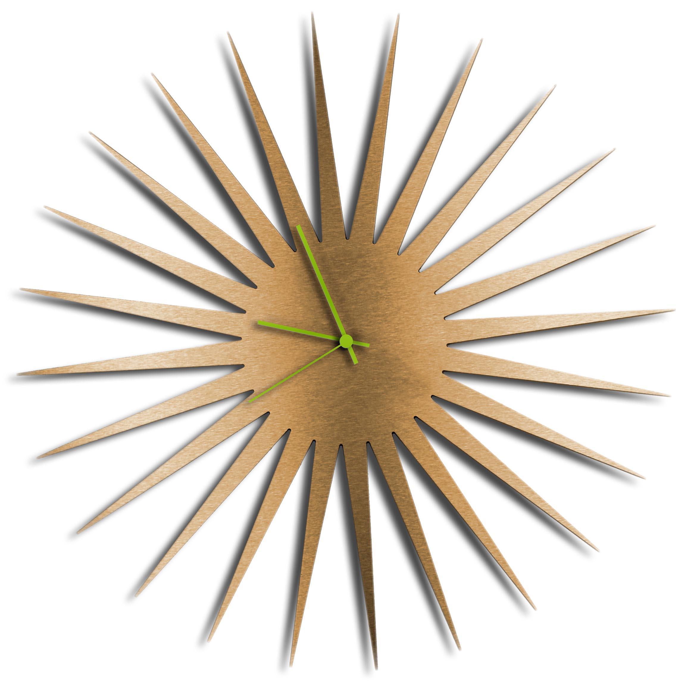 Adam Schwoeppe 'MCM Starburst Clock Bronze Green' Midcentury Modern Style Wall Clock