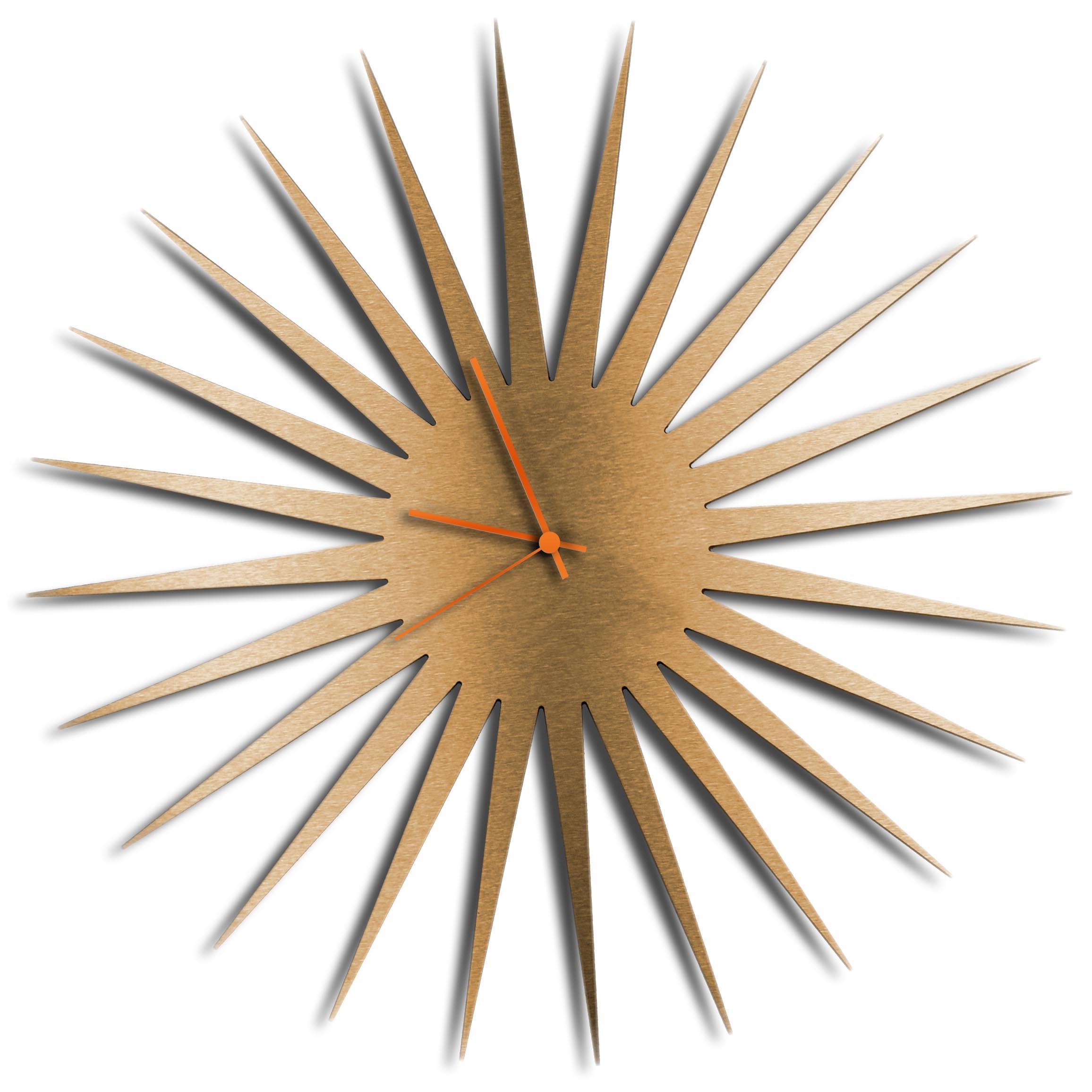 Adam Schwoeppe 'MCM Starburst Clock Bronze Orange' Midcentury Modern Style Wall Clock