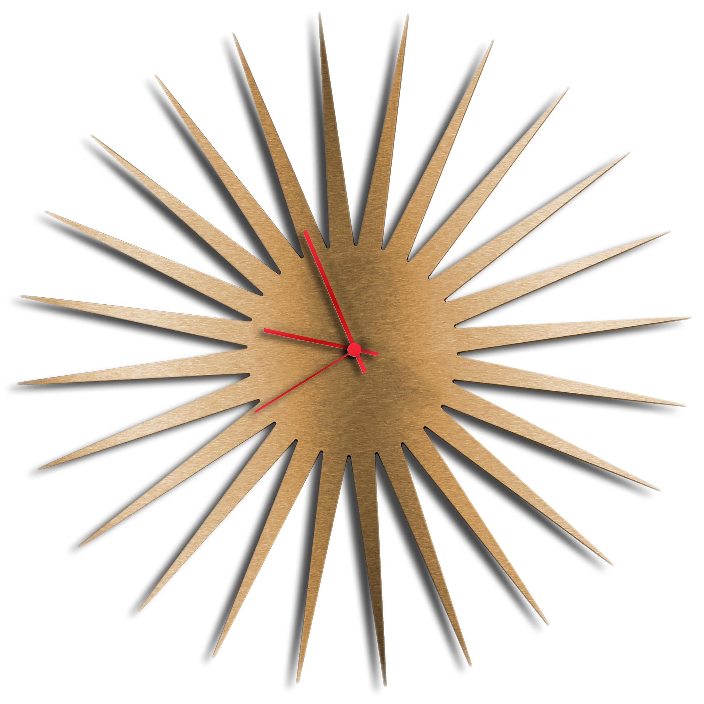 Adam Schwoeppe 'MCM Starburst Clock Bronze Red' Midcentury Modern Style Wall Clock