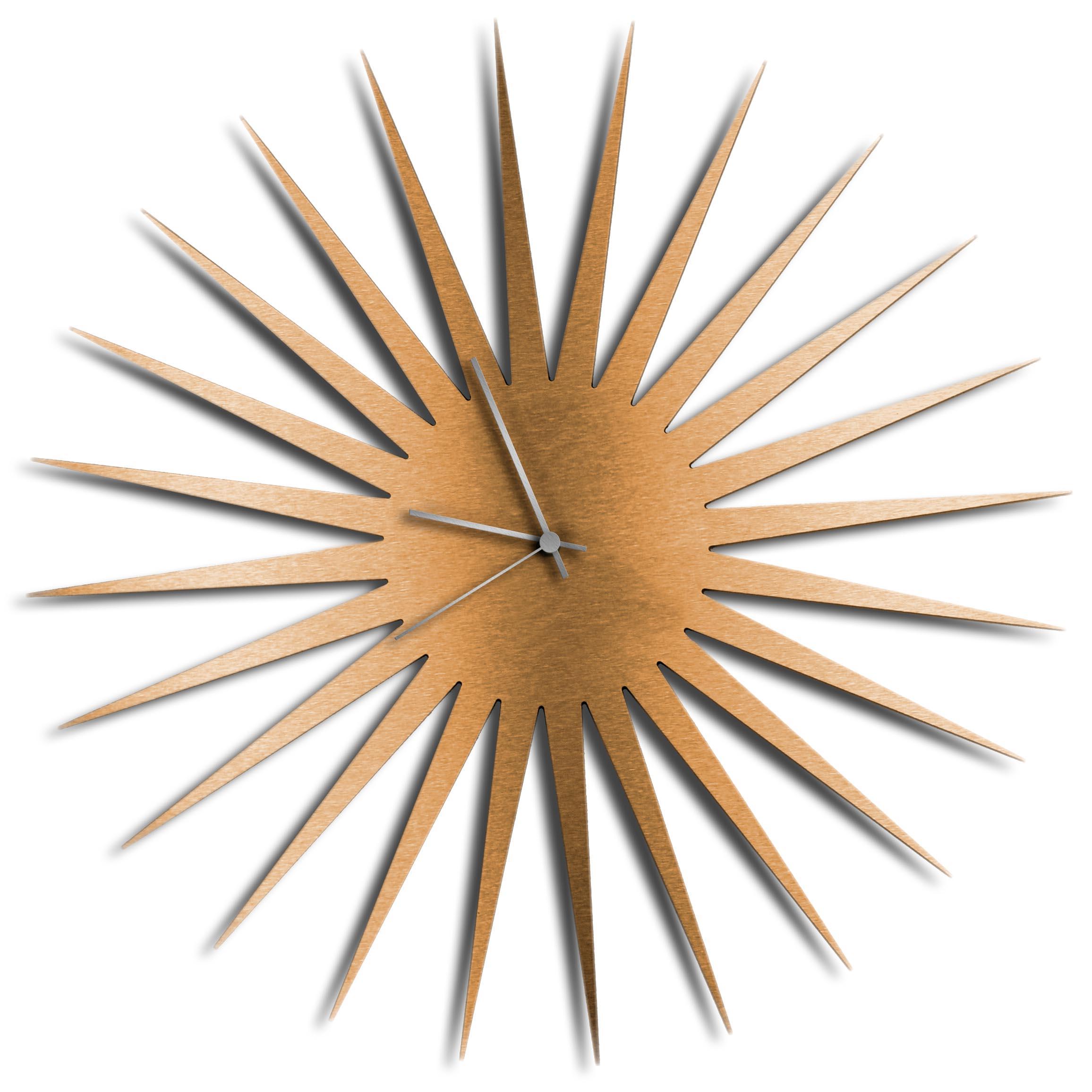 Adam Schwoeppe 'MCM Starburst Clock Bronze Silver' Midcentury Modern Style Wall Clock