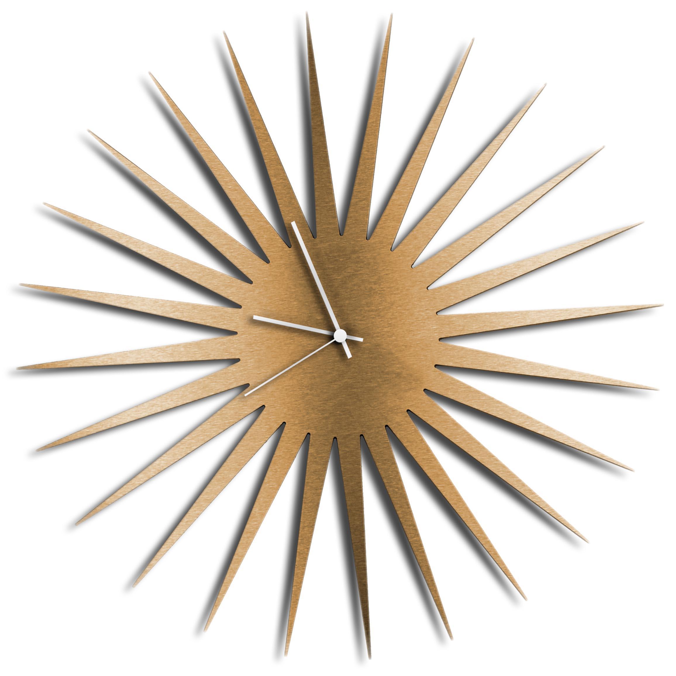 Adam Schwoeppe 'MCM Starburst Clock Bronze White' Midcentury Modern Style Wall Clock