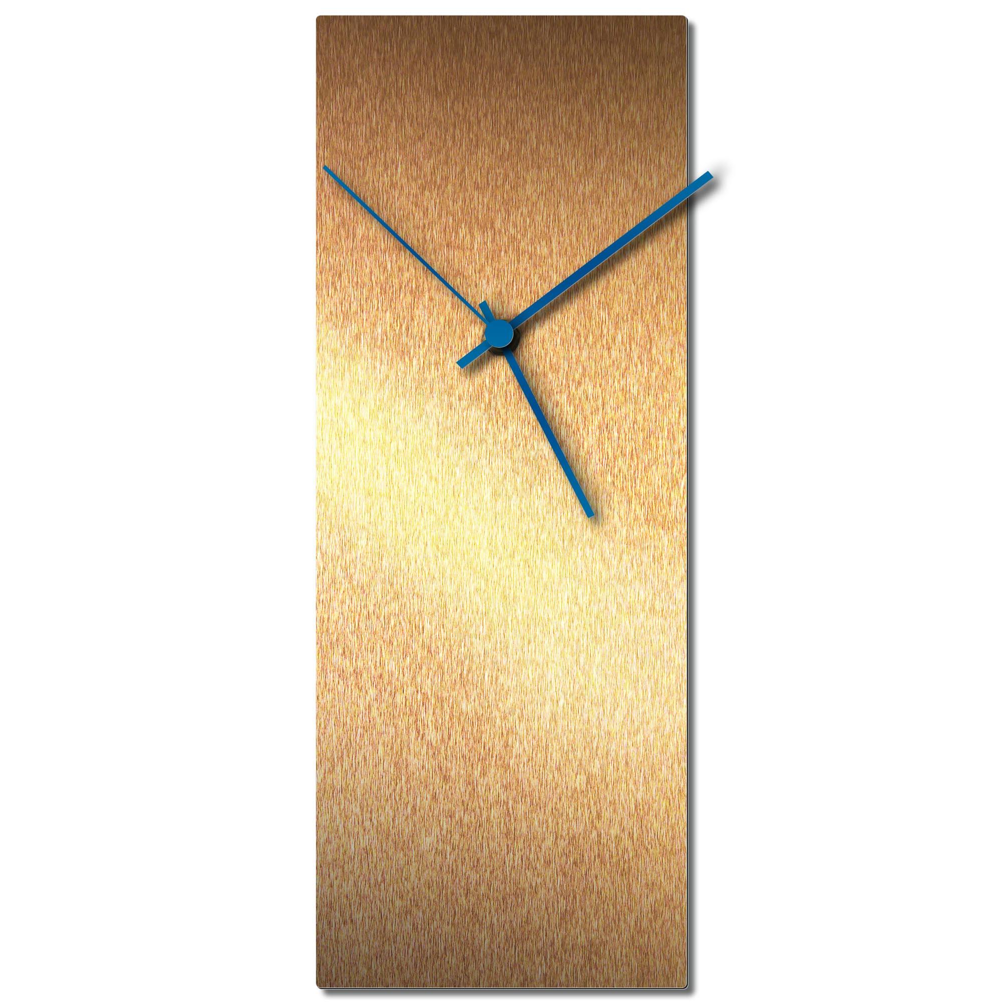 Adam Schwoeppe 'Bronzesmith Clock Large Blue' Midcentury Modern Style Wall Clock