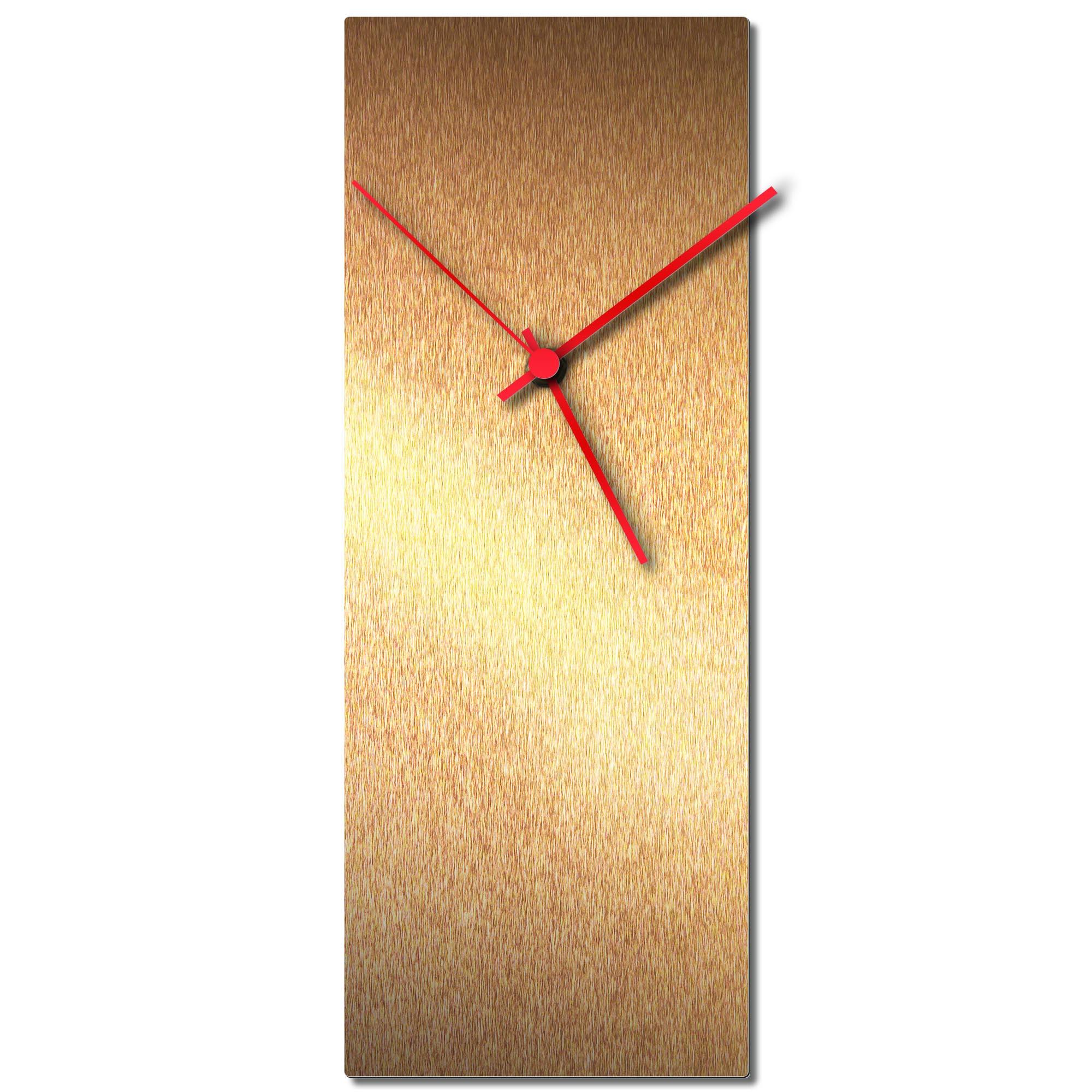 Adam Schwoeppe 'Bronzesmith Clock Large Red' Midcentury Modern Style Wall Clock