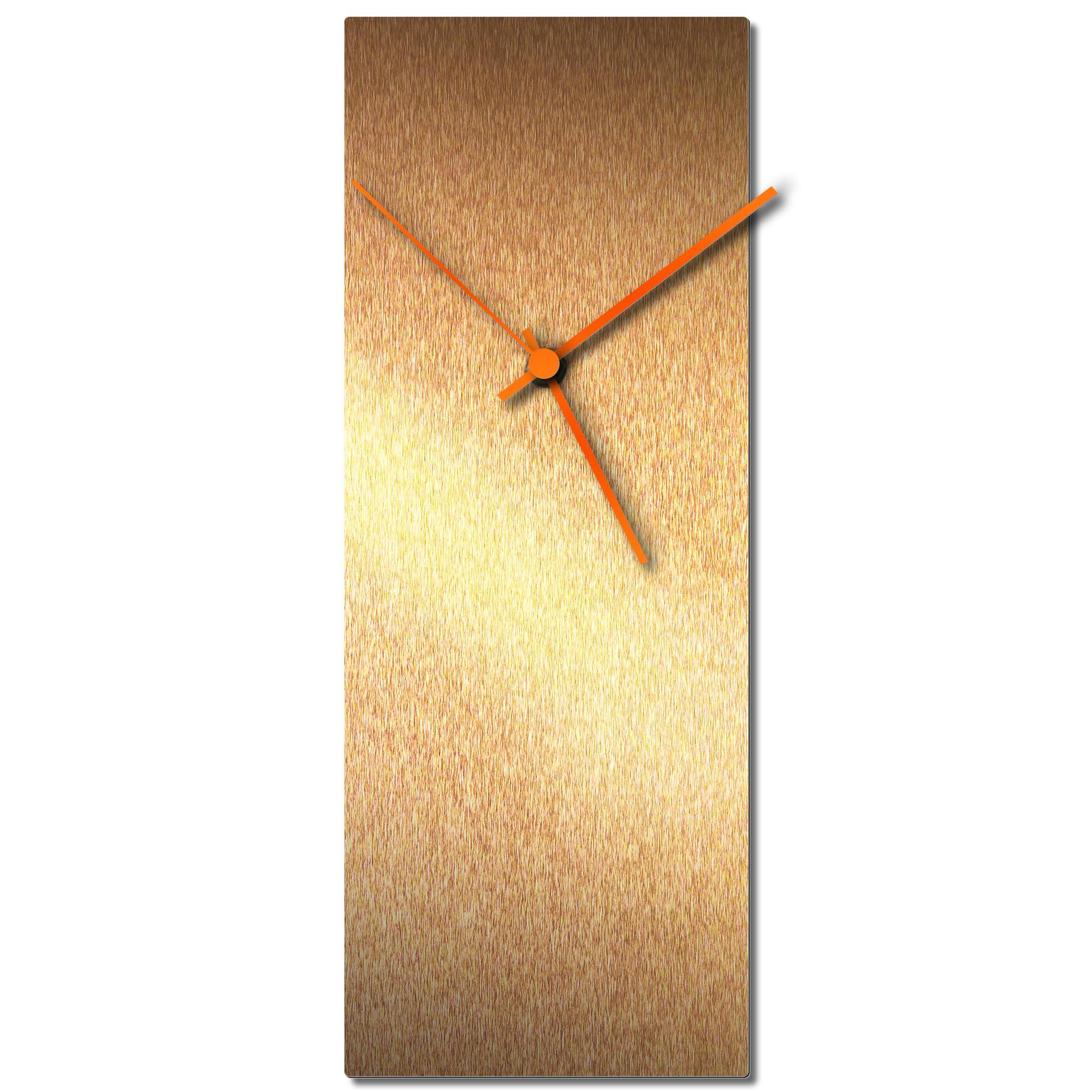 Adam Schwoeppe 'Bronzesmith Clock Orange' Midcentury Modern Style Wall Clock