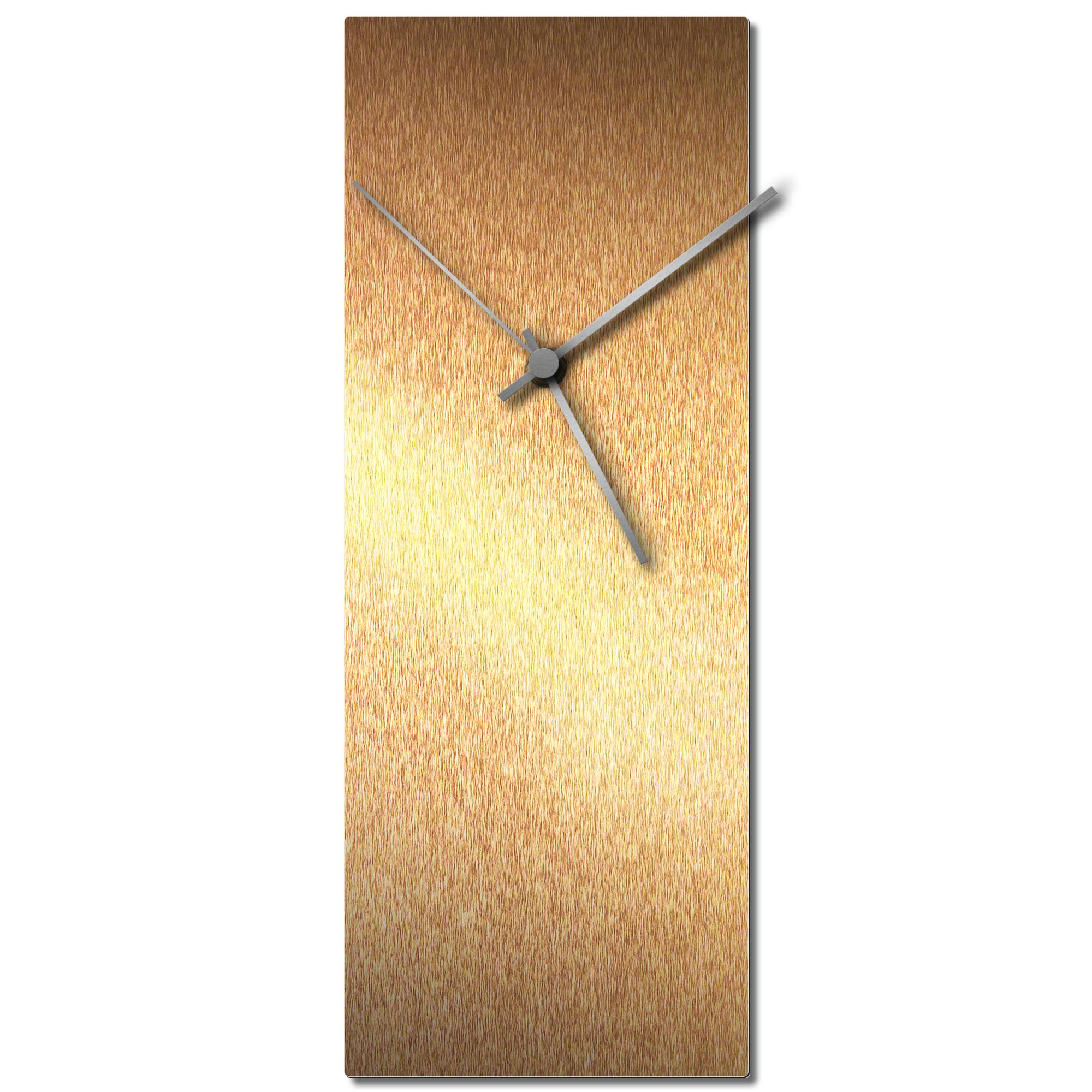 Adam Schwoeppe 'Bronzesmith Clock Silver' Midcentury Modern Style Wall Clock