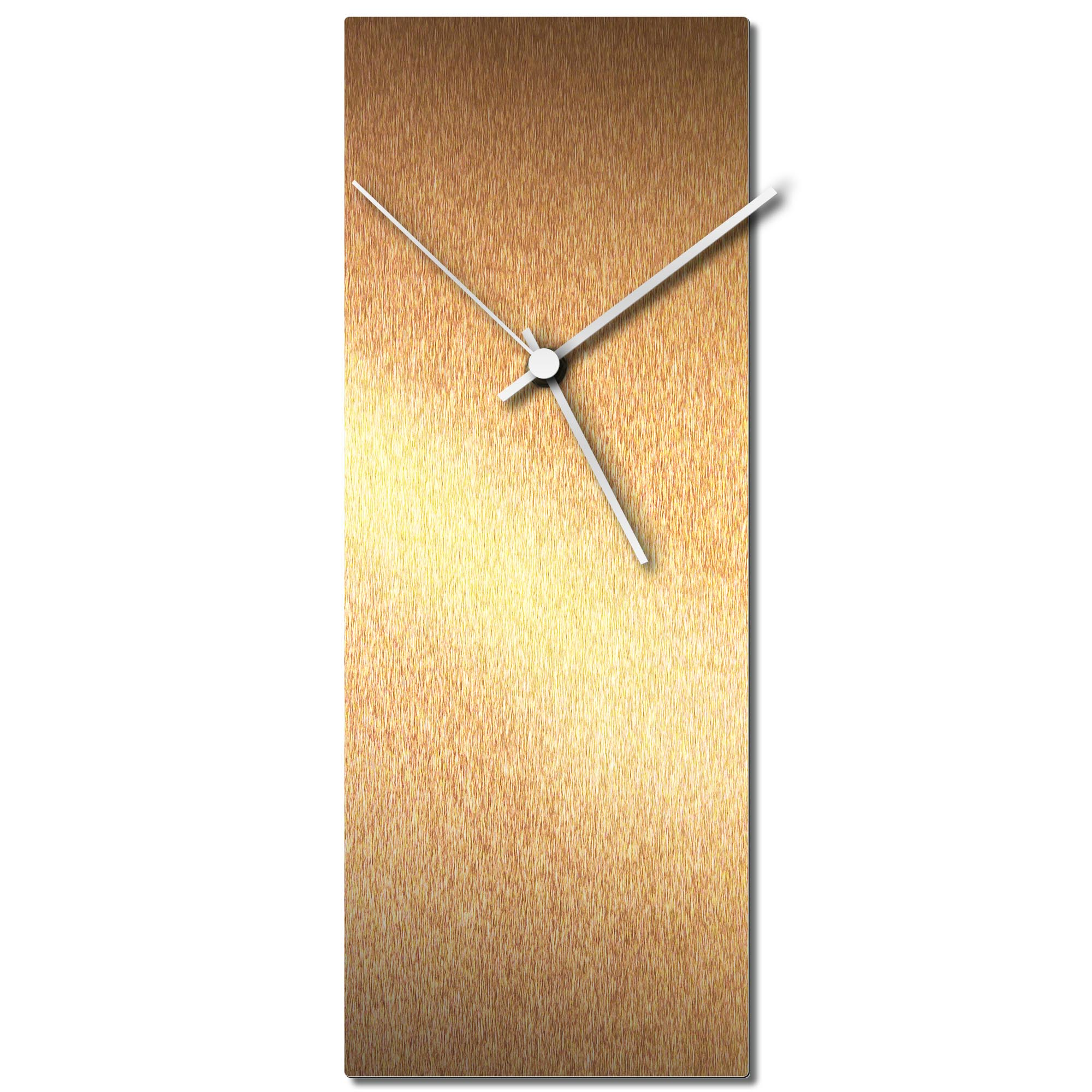 Adam Schwoeppe 'Bronzesmith Clock White' Midcentury Modern Style Wall Clock