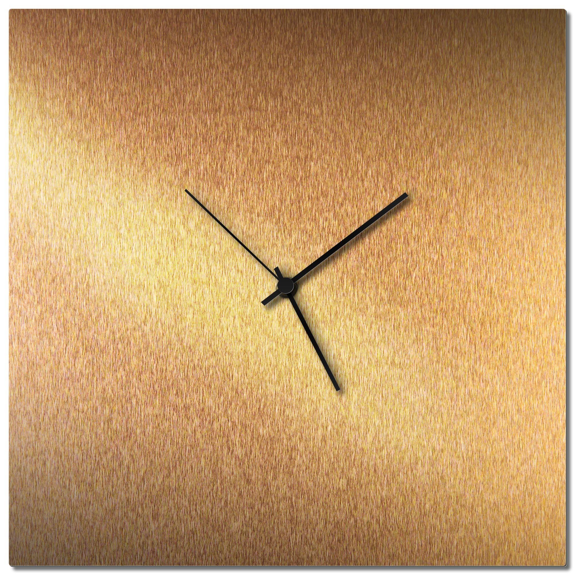 Adam Schwoeppe 'Bronzesmith Square Clock Black' Midcentury Modern Style Wall Clock