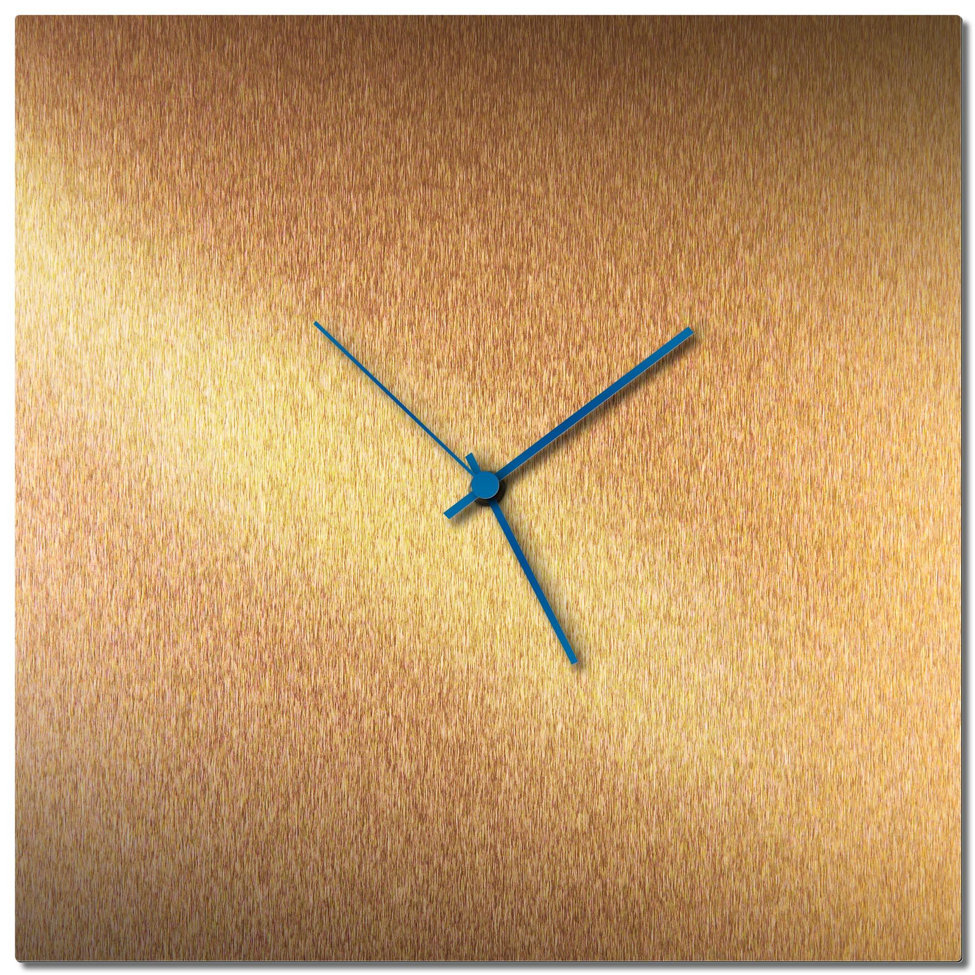 Adam Schwoeppe 'Bronzesmith Square Clock Blue' Midcentury Modern Style Wall Clock