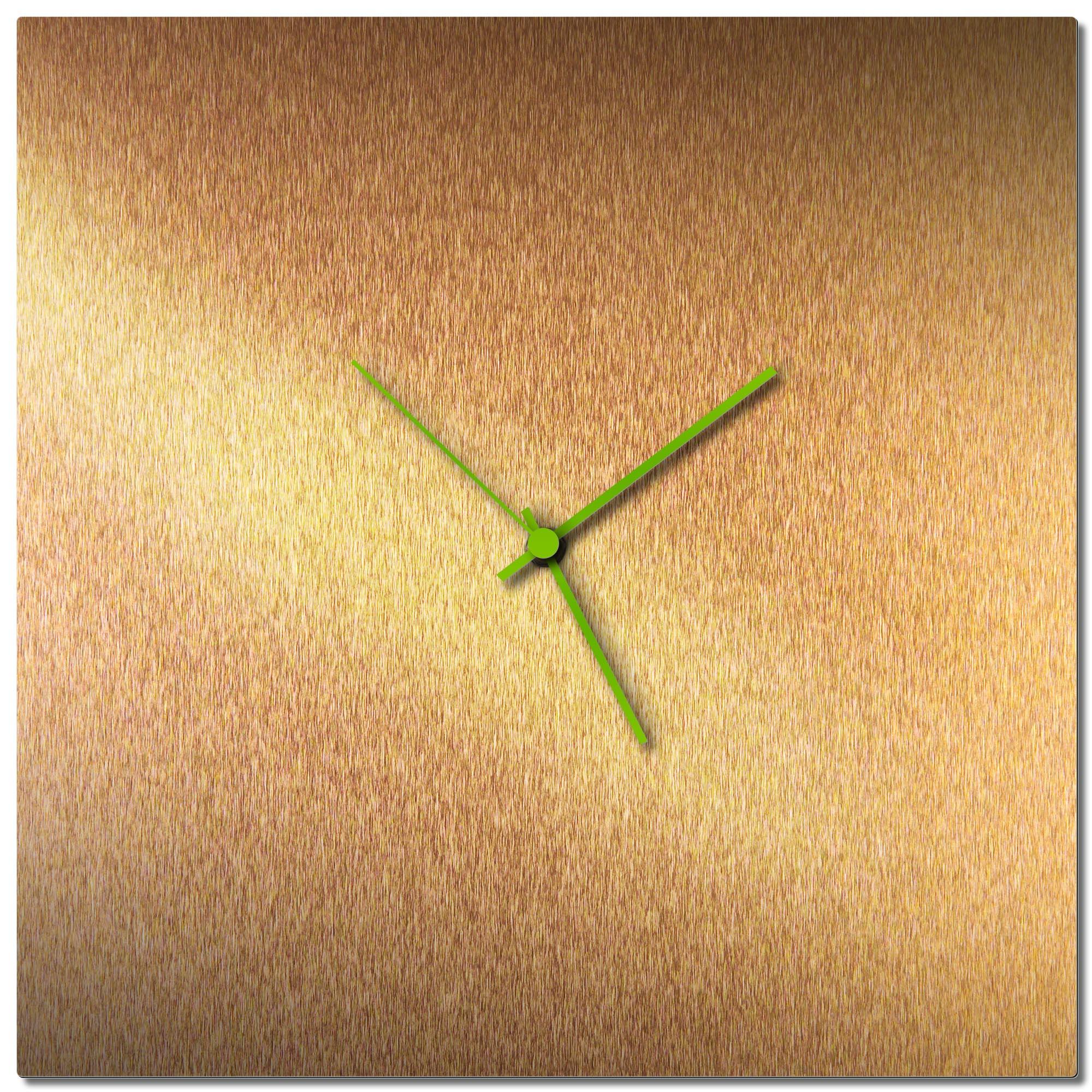 Adam Schwoeppe 'Bronzesmith Square Clock Green' Midcentury Modern Style Wall Clock