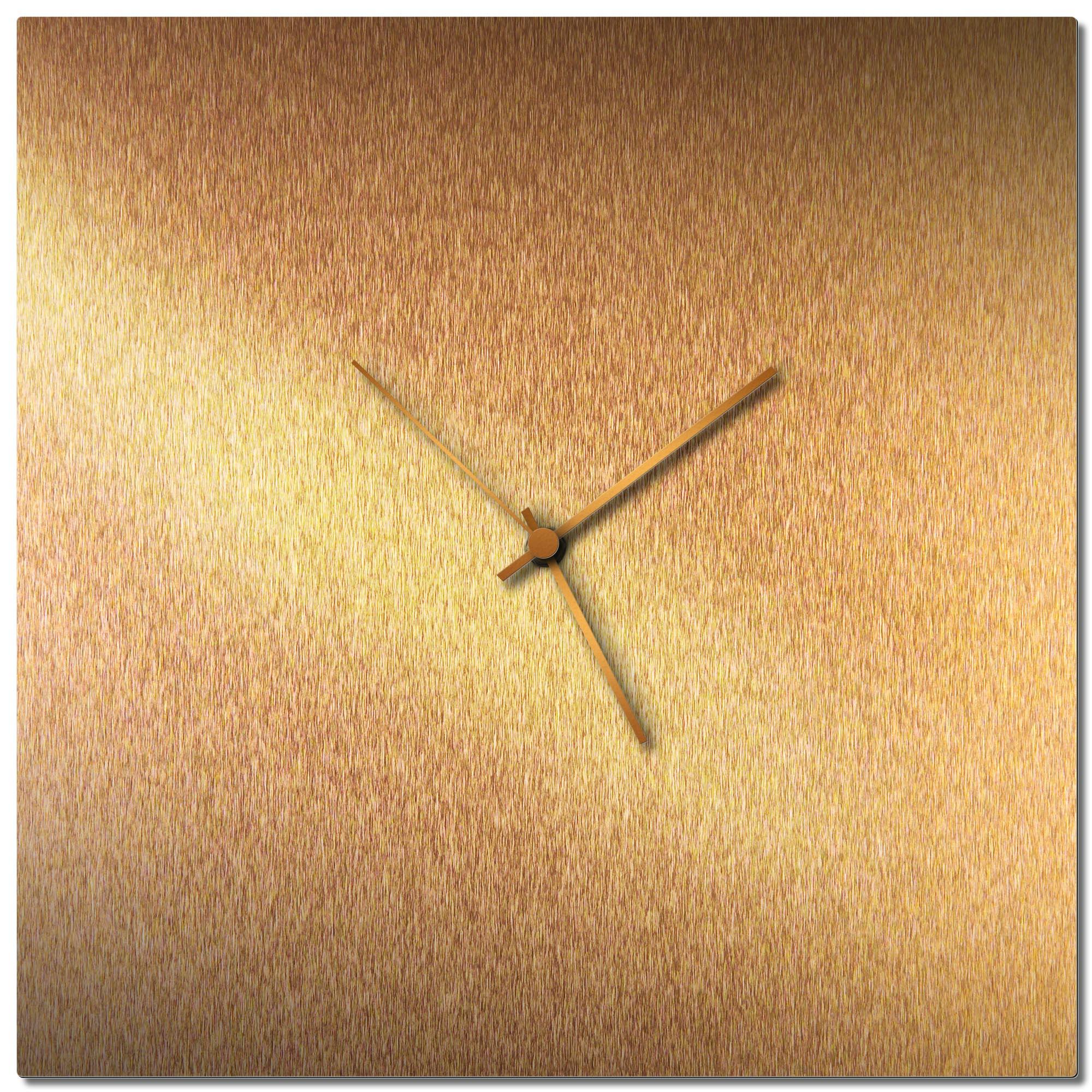 Adam Schwoeppe 'Bronzesmith Square Clock Large Bronze' Midcentury Modern Style Wall Clock
