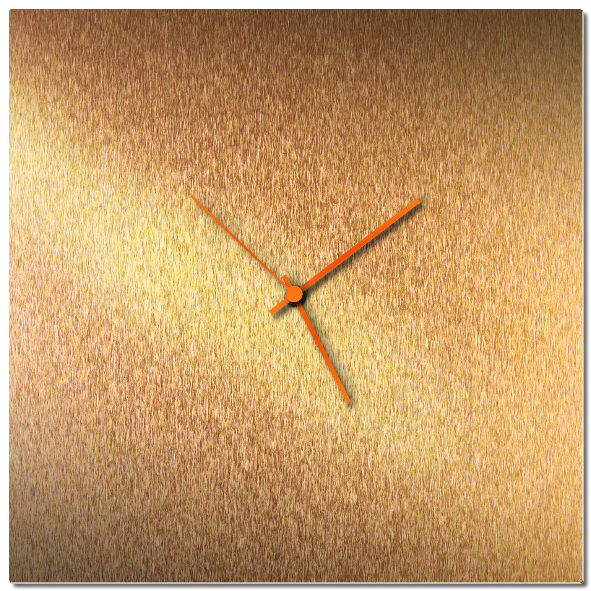 Adam Schwoeppe 'Bronzesmith Square Clock Orange' Midcentury Modern Style Wall Clock