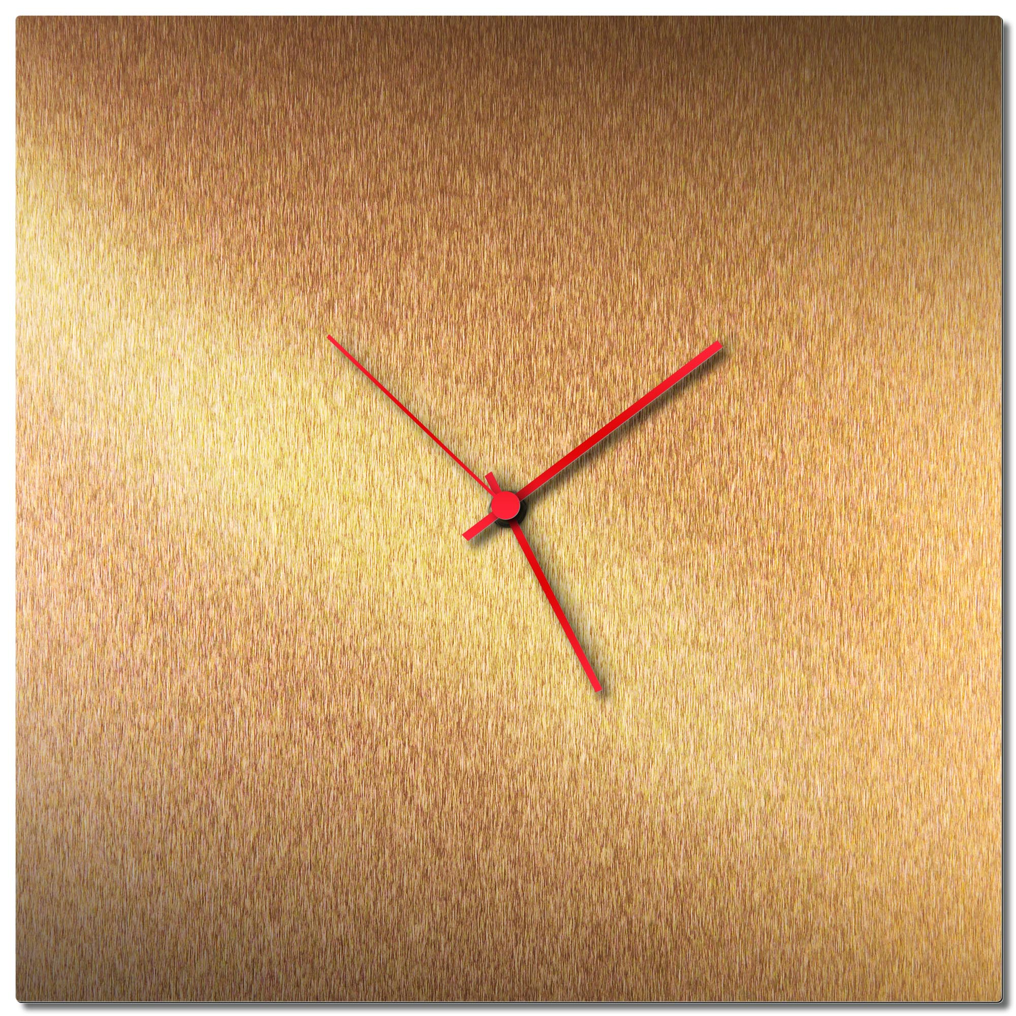 Adam Schwoeppe 'Bronzesmith Square Clock Red' Midcentury Modern Style Wall Clock