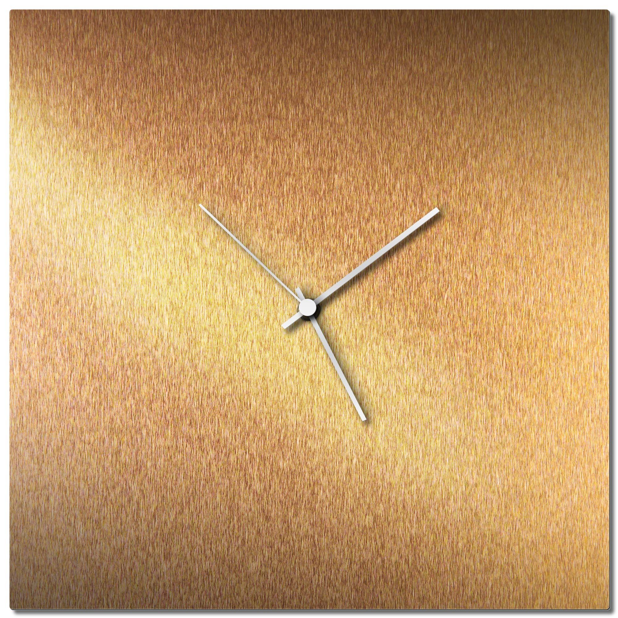 Adam Schwoeppe 'Bronzesmith Square Clock White' Midcentury Modern Style Wall Clock