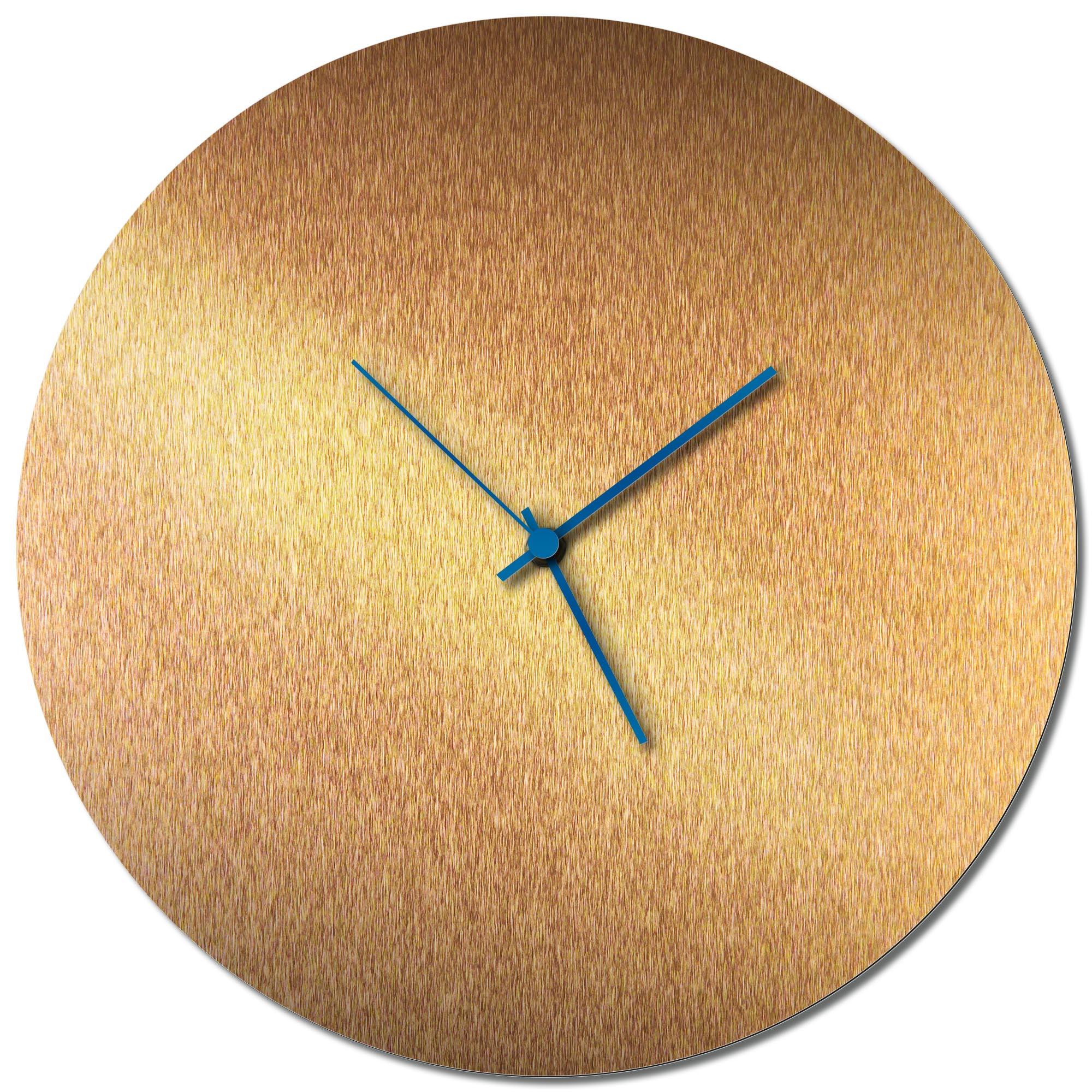 Adam Schwoeppe 'Bronzesmith Circle Clock Blue' Midcentury Modern Style Wall Clock