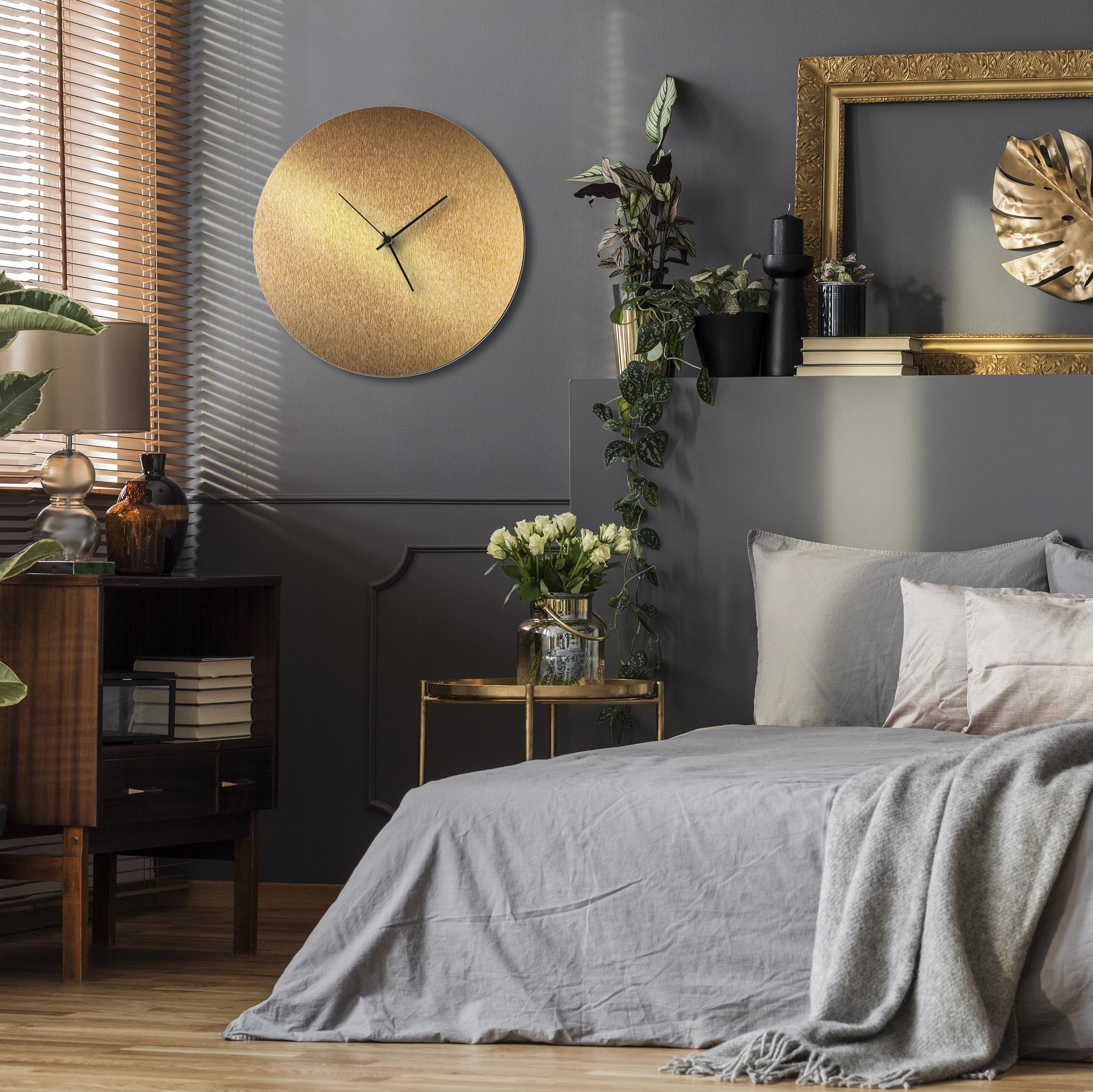 Bronzesmith Circle Clock Large Black - Lifestyle View