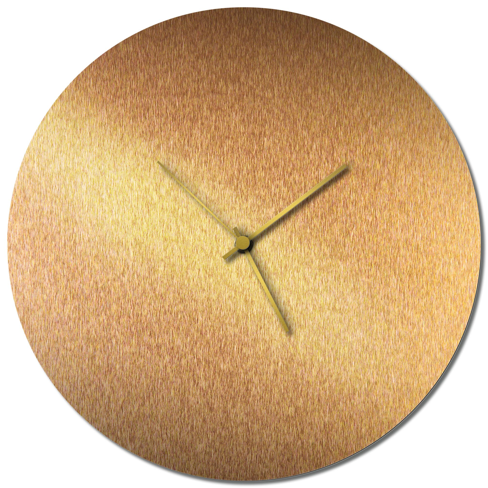 Adam Schwoeppe 'Bronzesmith Circle Clock Large Gold' Midcentury Modern Style Wall Clock