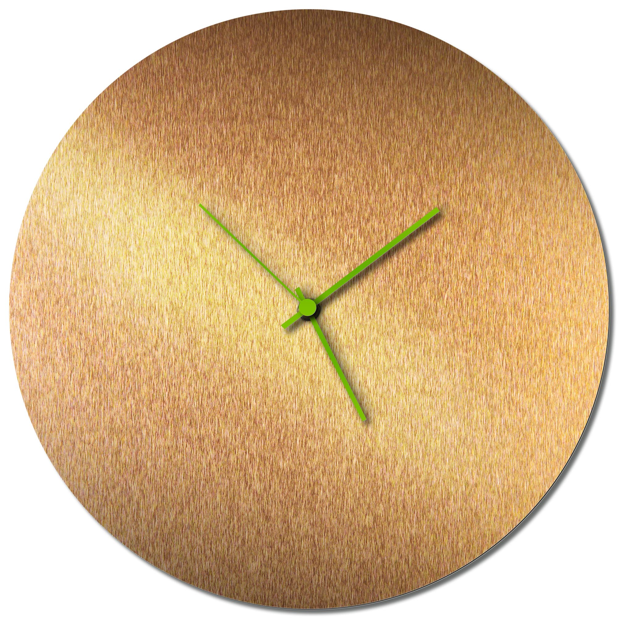 Adam Schwoeppe 'Bronzesmith Circle Clock Large Green' Midcentury Modern Style Wall Clock