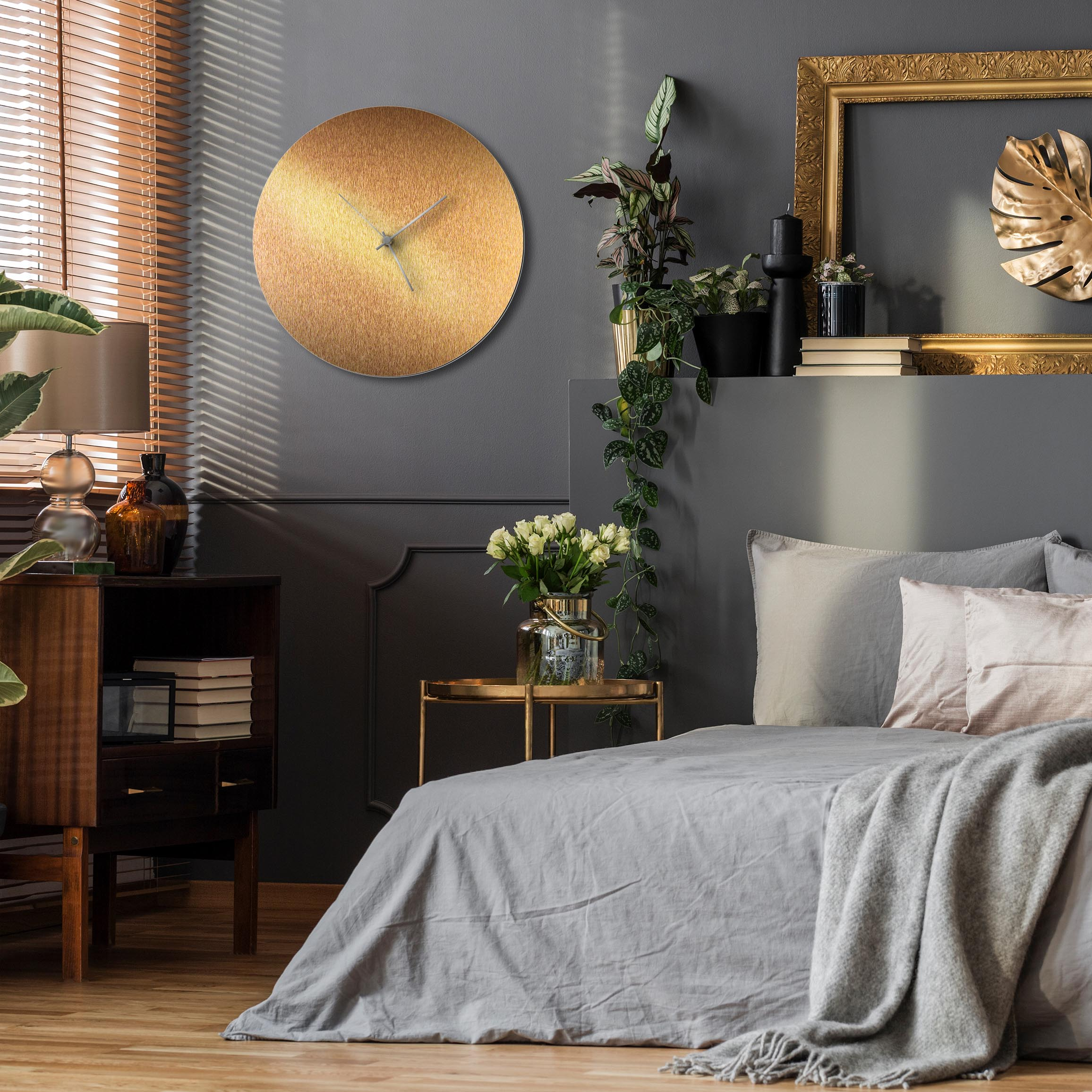 Bronzesmith Circle Clock Large Silver - Lifestyle View