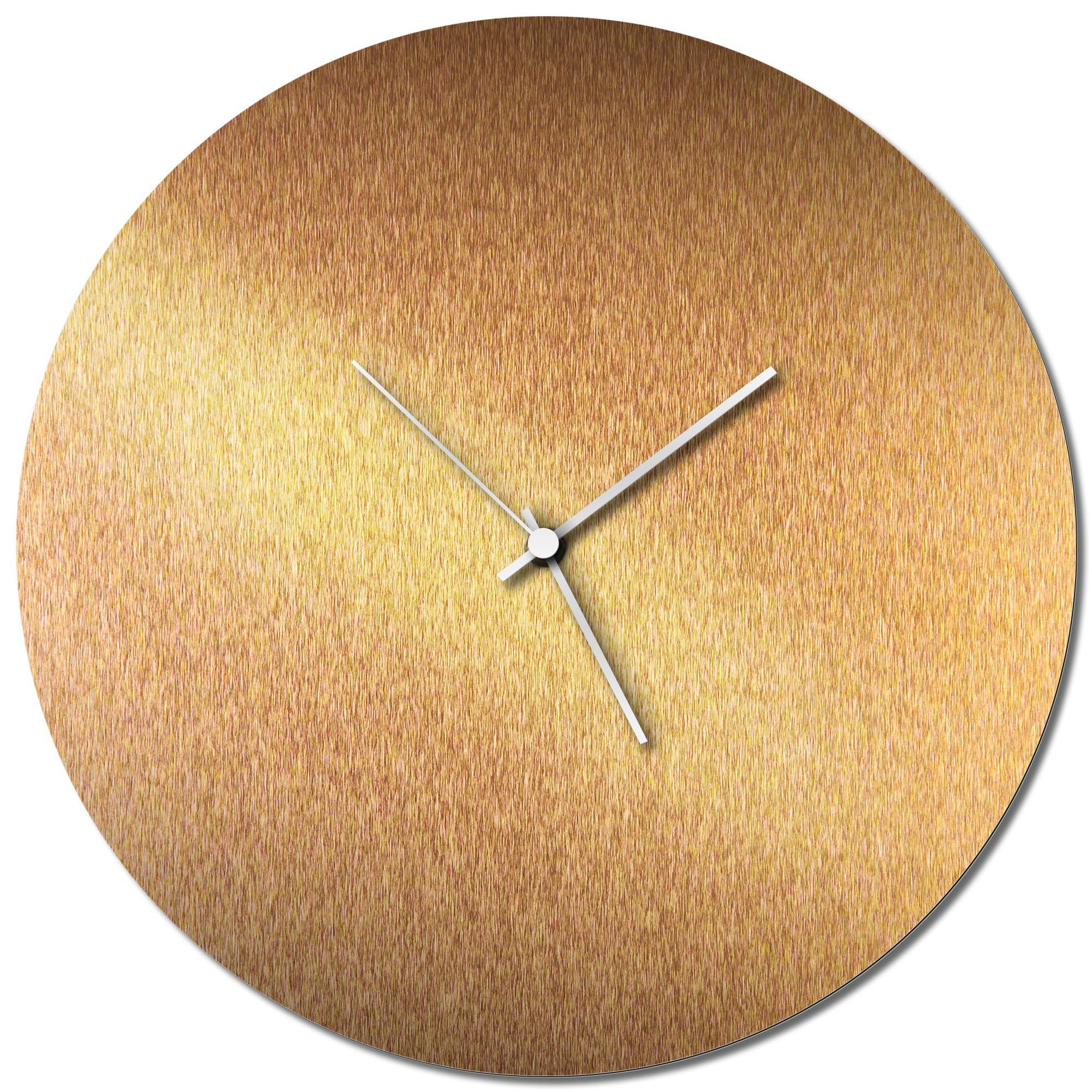 Adam Schwoeppe 'Bronzesmith Circle Clock Large White' Midcentury Modern Style Wall Clock