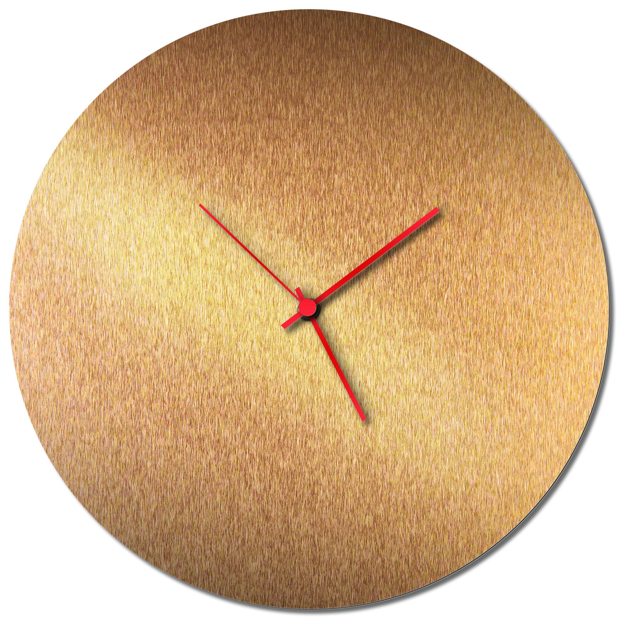Adam Schwoeppe 'Bronzesmith Circle Clock Red' Midcentury Modern Style Wall Clock