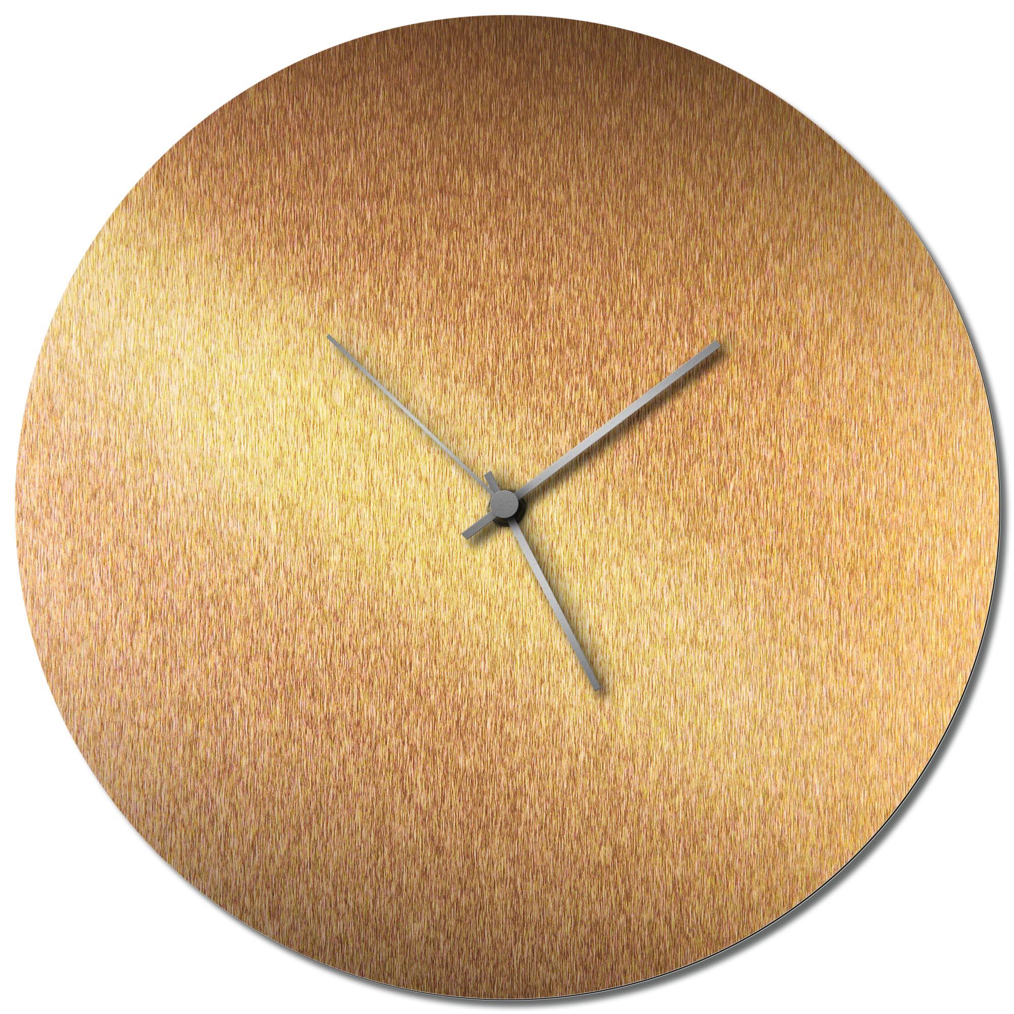 Adam Schwoeppe 'Bronzesmith Circle Clock Silver' Midcentury Modern Style Wall Clock