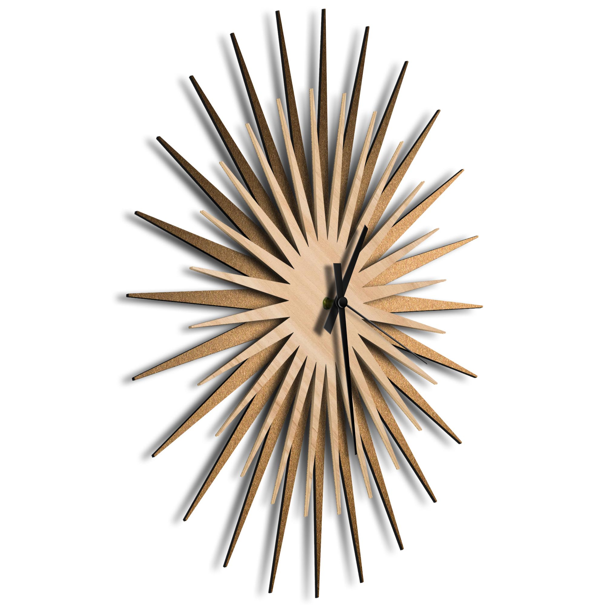 Atomic Era Clock Bronze Maple Black by Adam Schwoeppe - Mid-Century Modern Clock on Brushed Bronze Polymetal - Image 2