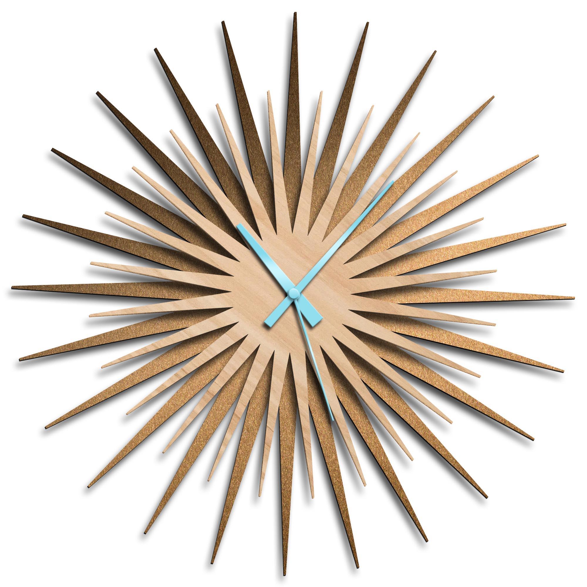 Adam Schwoeppe 'Atomic Era Clock Bronze Maple Blue' Midcentury Modern Style Wall Clock