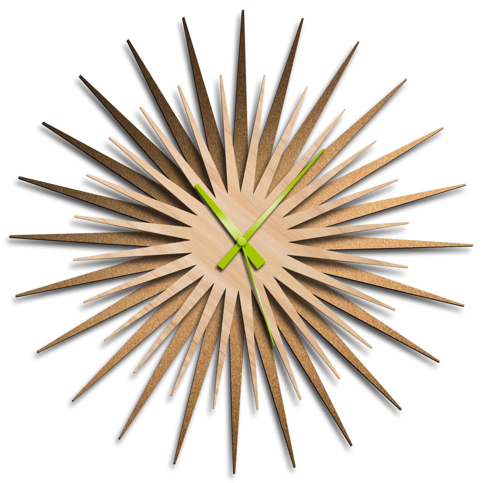 Adam Schwoeppe 'Atomic Era Clock Bronze Maple Green' Midcentury Modern Style Wall Clock