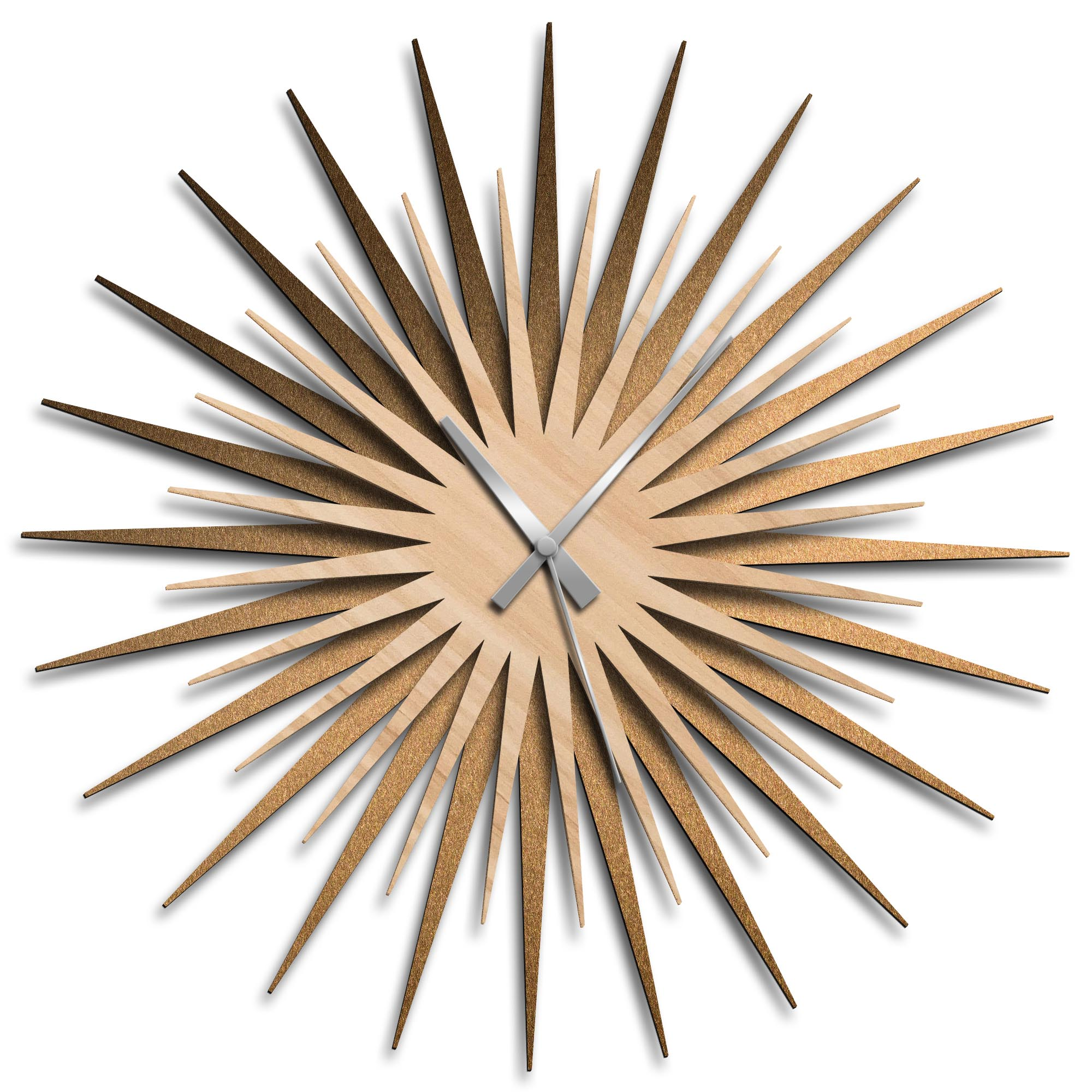 Adam Schwoeppe 'Atomic Era Clock Bronze Maple Grey' Midcentury Modern Style Wall Clock